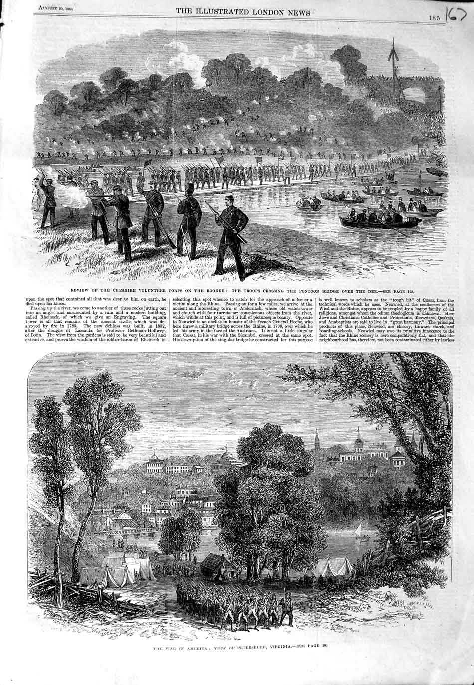 [Print 1864 War America Petersburg Virginia Roodee Dee Army 167N324 Old Original]