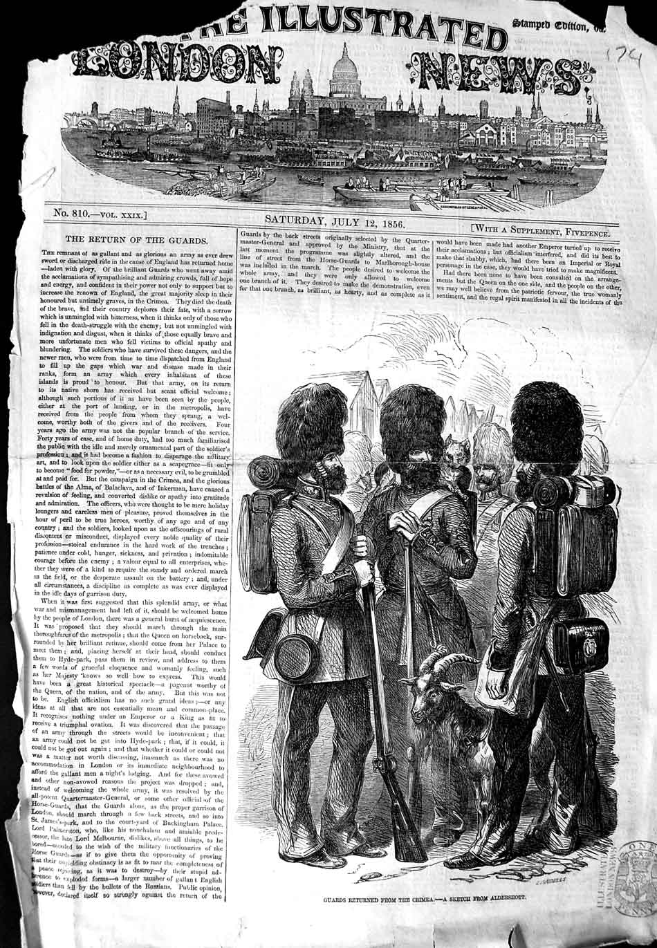 [Print 1856 Guards Crimea War Goat Soldiers Uniforms 174N324 Old Original]