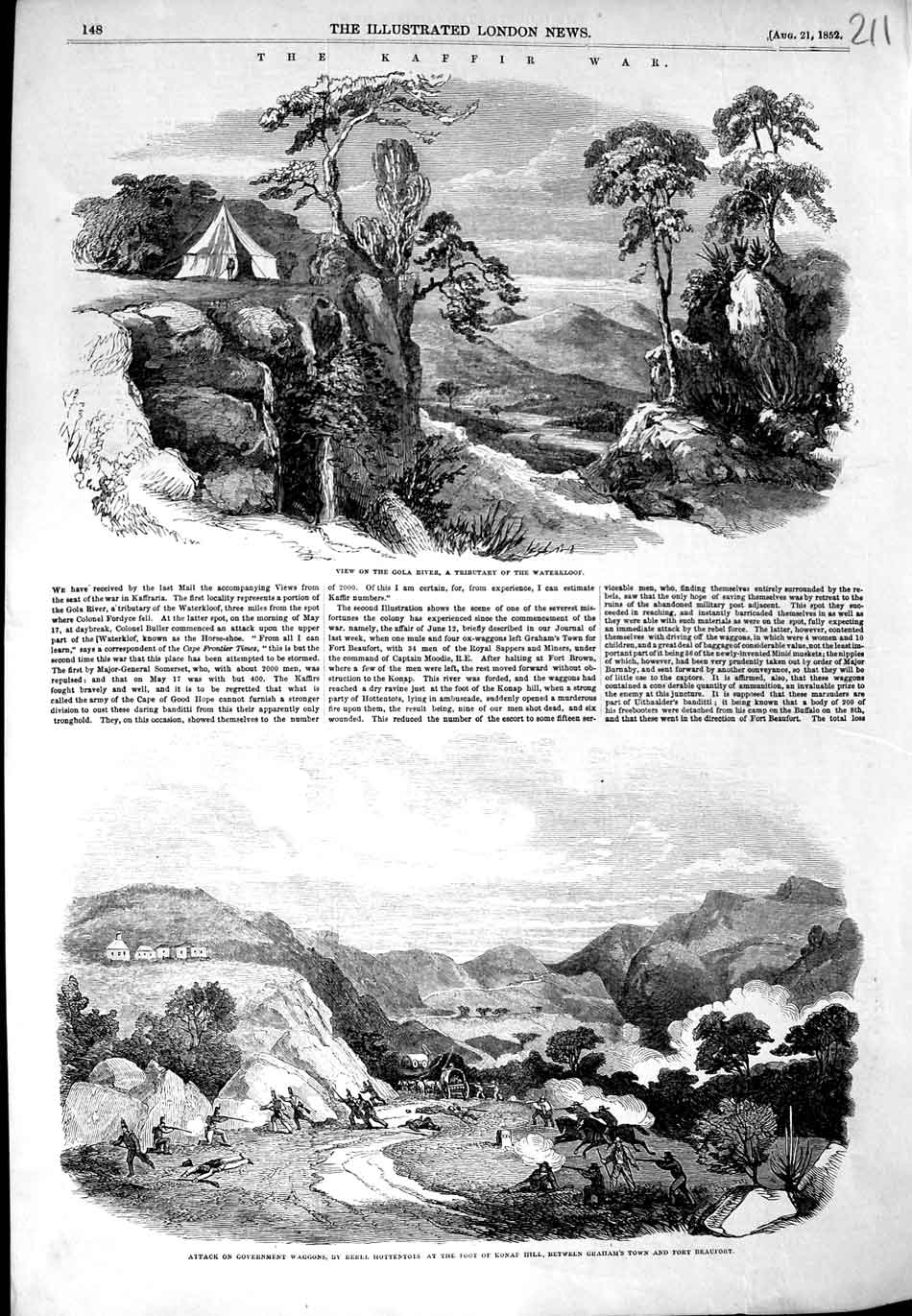 [Print 1852 Kaffir War Gola River Battle Hottentots Konap Hill 211N324 Old Original]