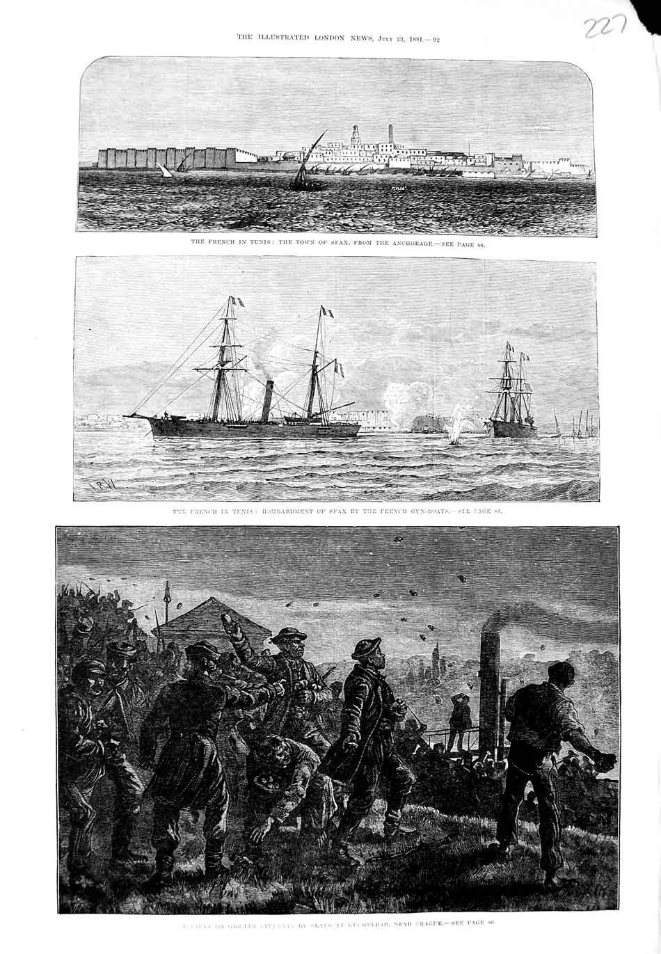 [Print German Students Slavs Prague French Ship Sfax War 1881 227N324 Old Original]