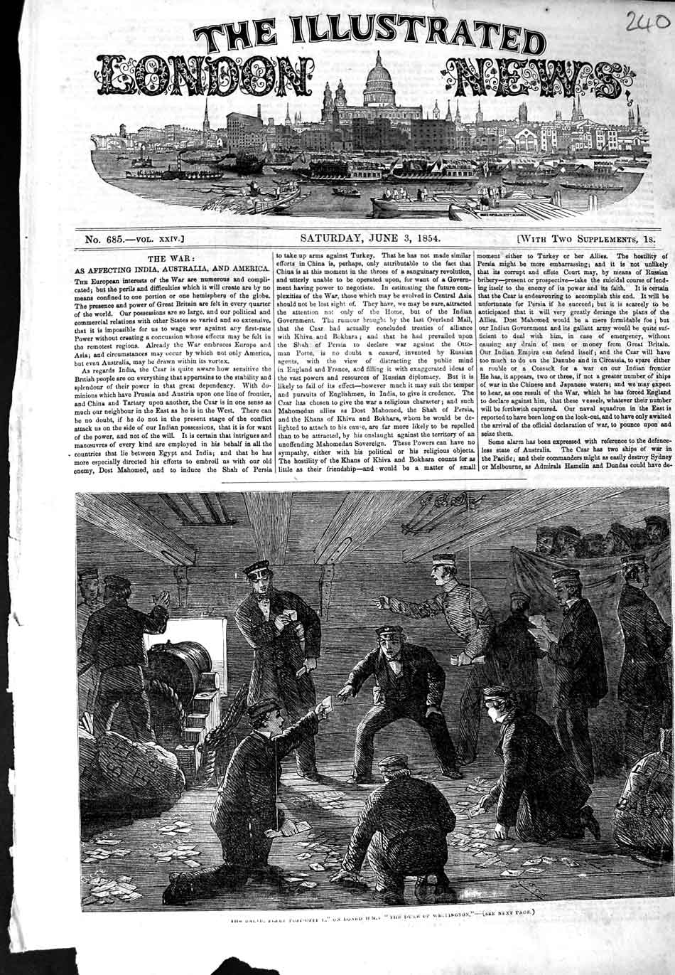 [Print 1854 Baltic Fleet Post Office Ship Duke Wellington War 240N324 Old Original]