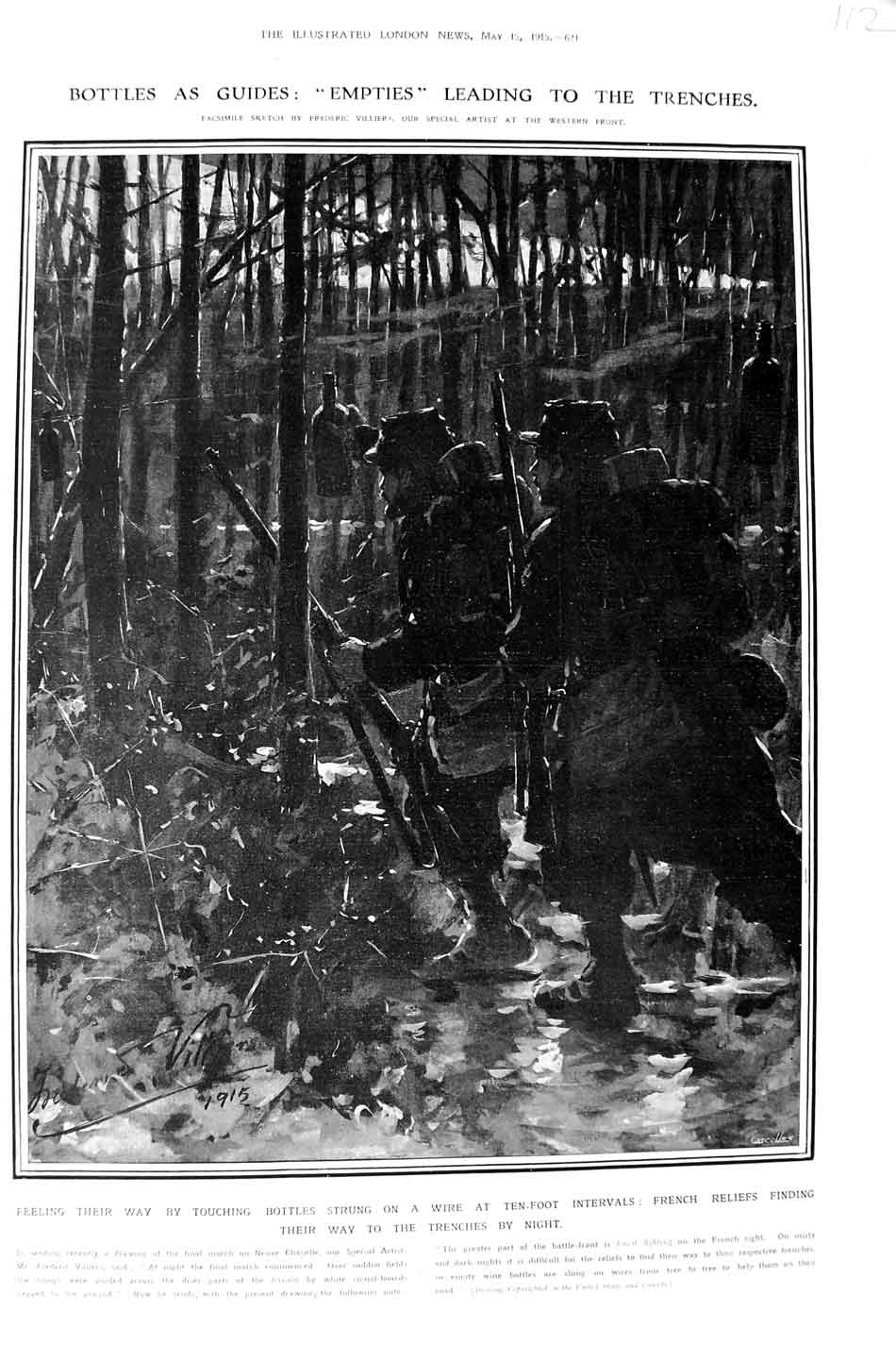 [Print 1915 War French Soldiers Bottle Guides Trenches Night 112N325 Old Original]