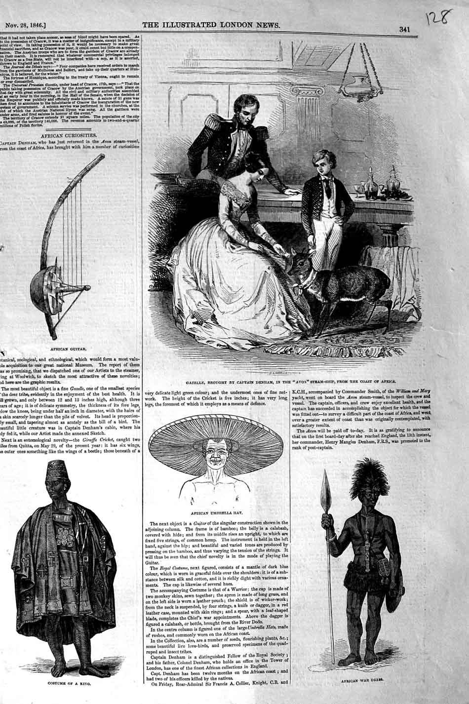 Print 1846 African War Dress Costume King Cazelle Denham 128N325 Old Original