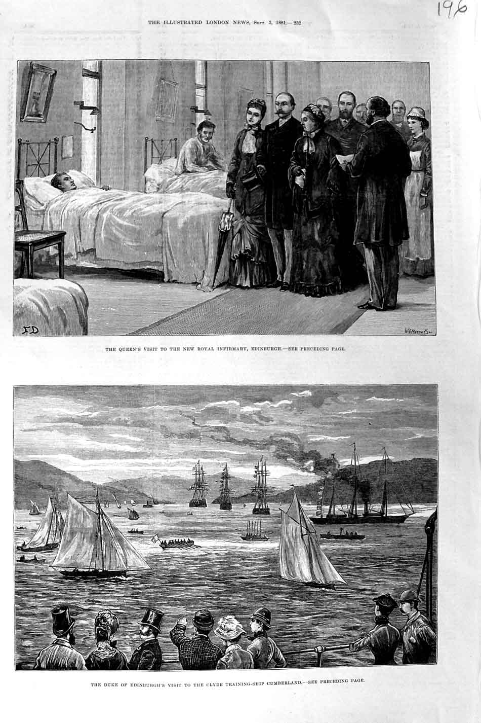 [Print 1881 Queen Hospital Edinburgh Clyde Ship Cumberland 196N325 Old Original]