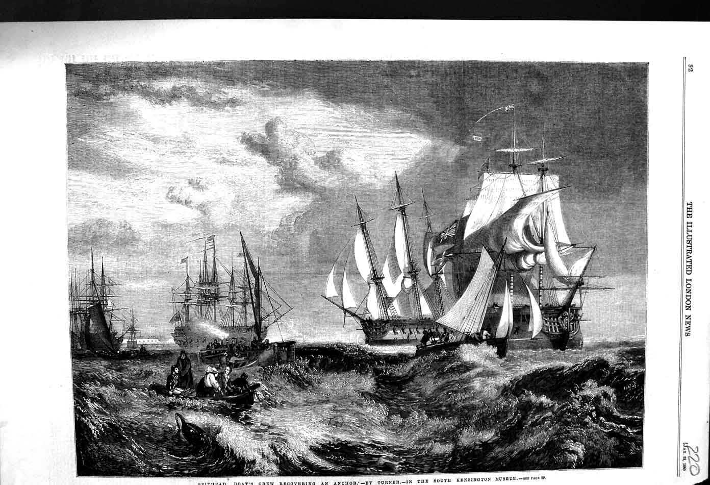 [Print 1860 Spithead Boat'S Crew Recovering Anchor War Ships 220N326 Old Original]