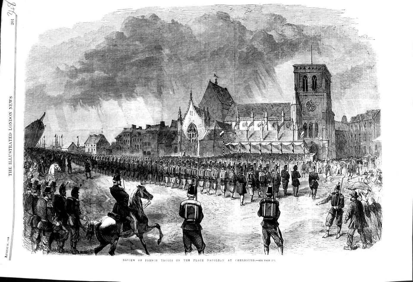 [Print 1865 French Soldiers Place Napoleon Cherbourg War 348N326 Old Original]