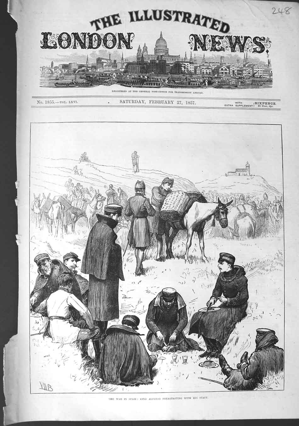 [Print 1857 War Spain King Alfonso Breakfast Staff Horses 248N327 Old Original]