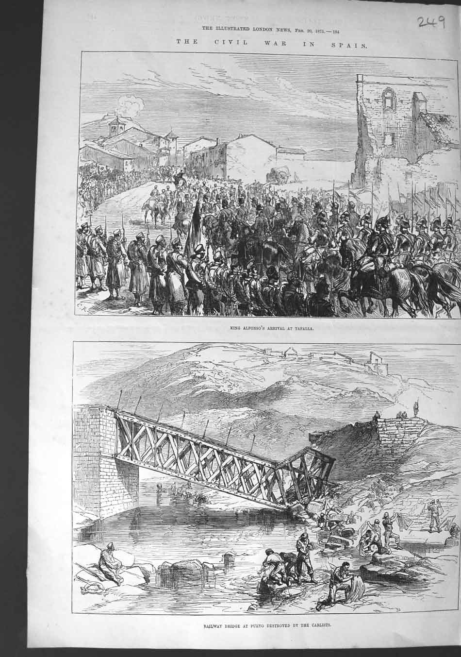 [Print 1875 Civil War Spain King Alfonso Tafalla Railway Pueyo 249N327 Old Original]