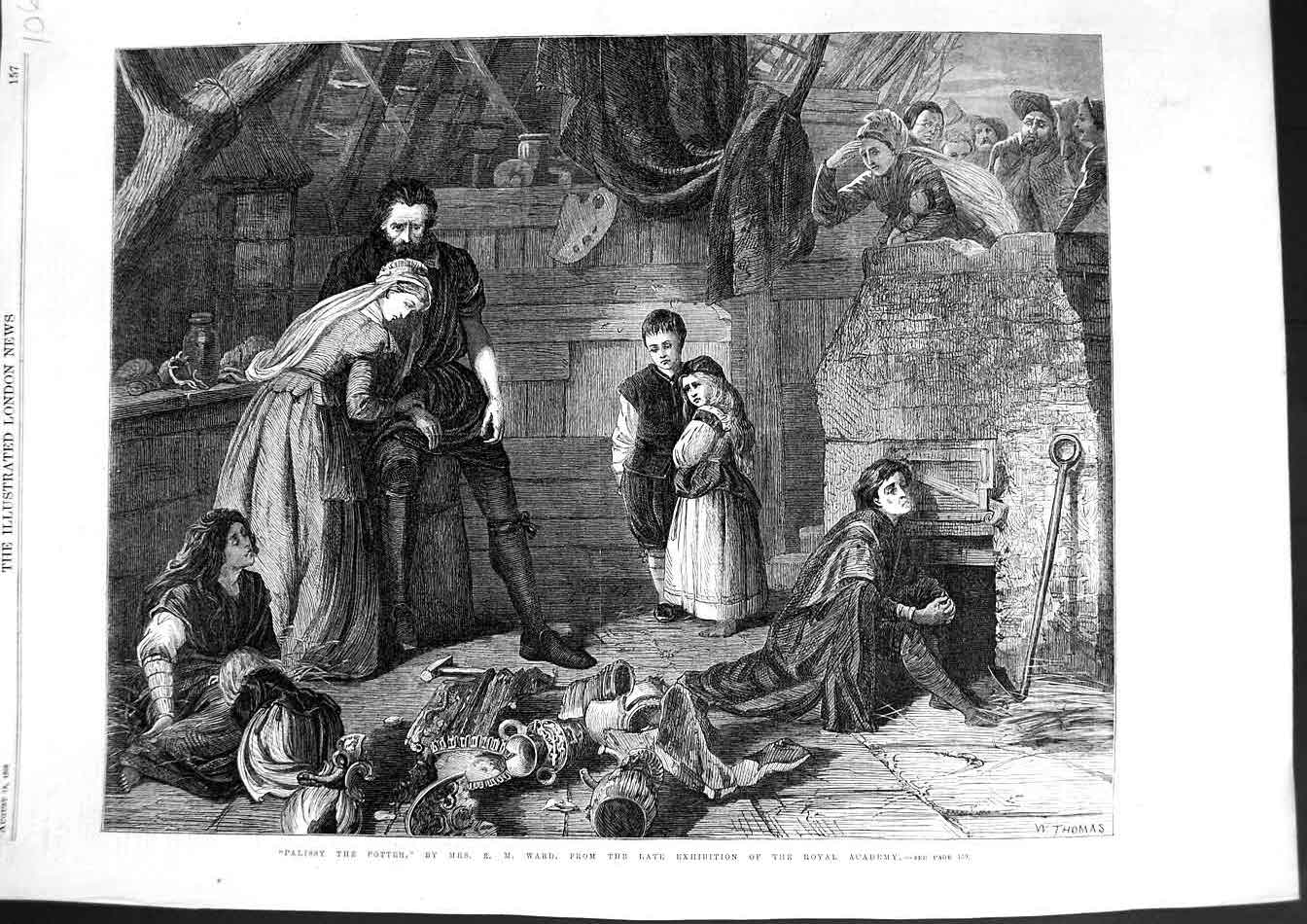 [Print 1866 War Fine Art Scene Palissy Potter Children House 106N329 Old Original]