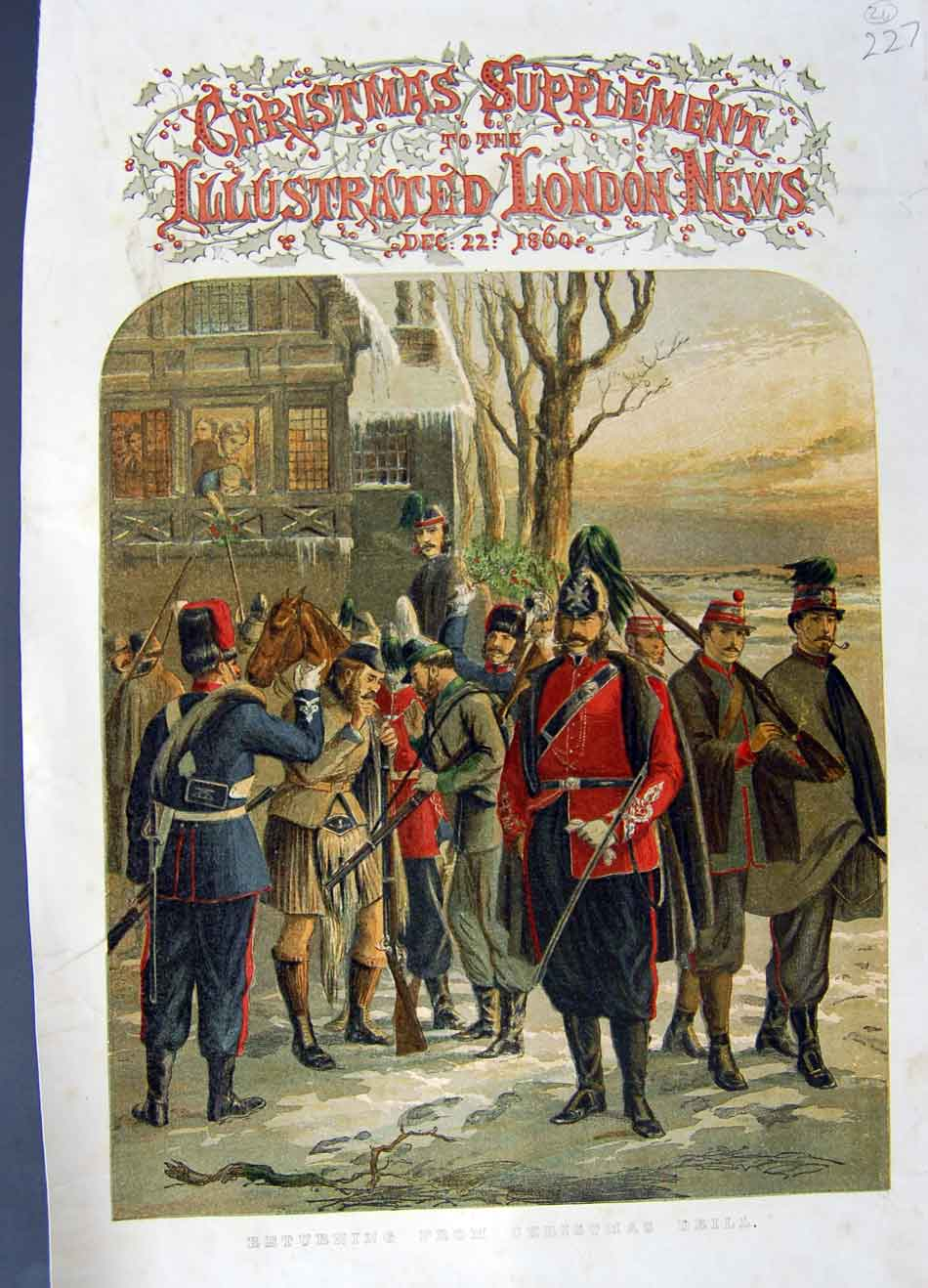 [Print 1860 Colour War Soldiers Return Christmas Drill 227N329 Old Original]