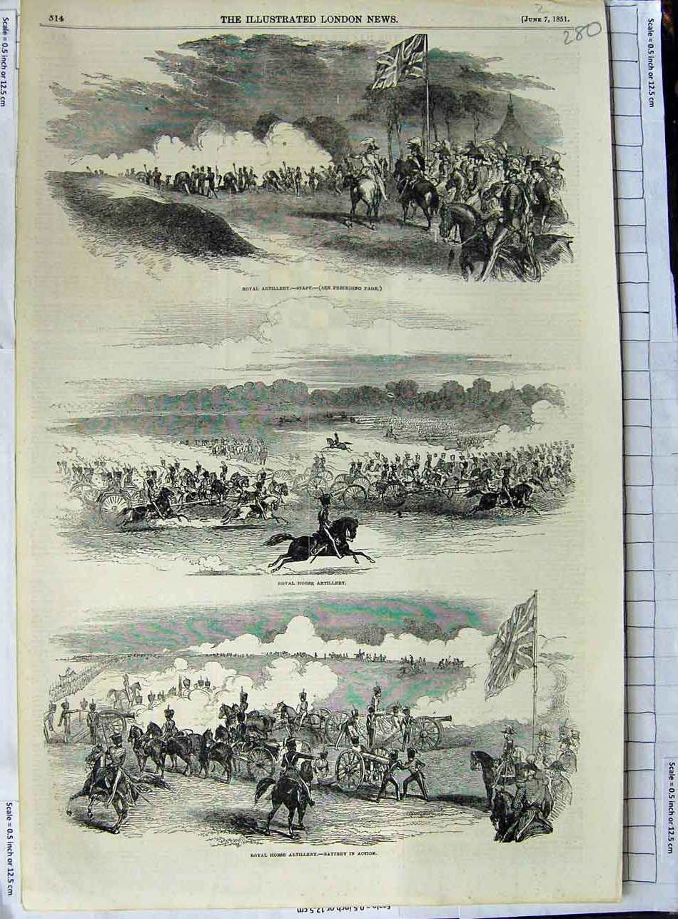 [Print 1851 Royal Horse Artillery War Battery Soldiers 280N329 Old Original]