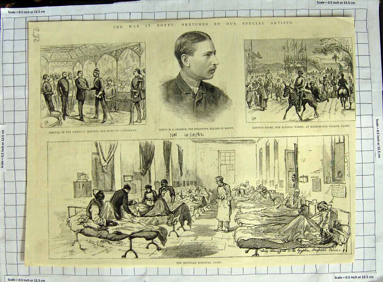 [Print 1882 War Egypt Gribble Hospital Cairo Kasr-En-Nil 282N329 Old Original]