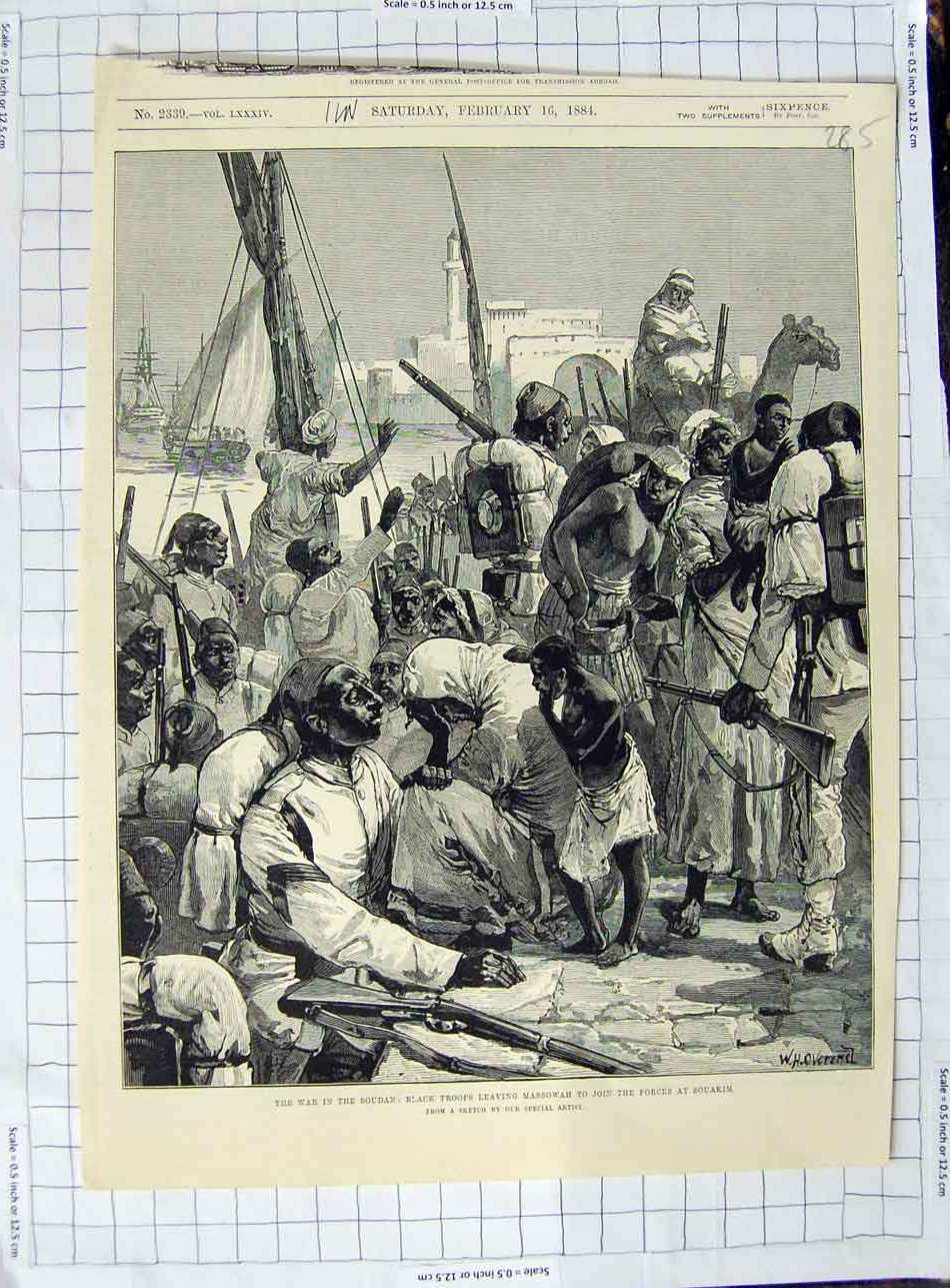 [Print 1884 War Soudan Black Troops Massowah Souakim War 285N329 Old Original]