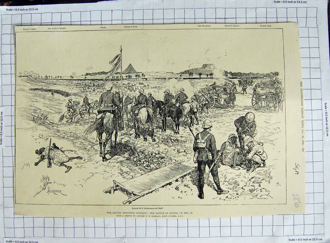 [Print 1886 General Stephenson Soudan War Battle Ginnis 286N329 Old Original]
