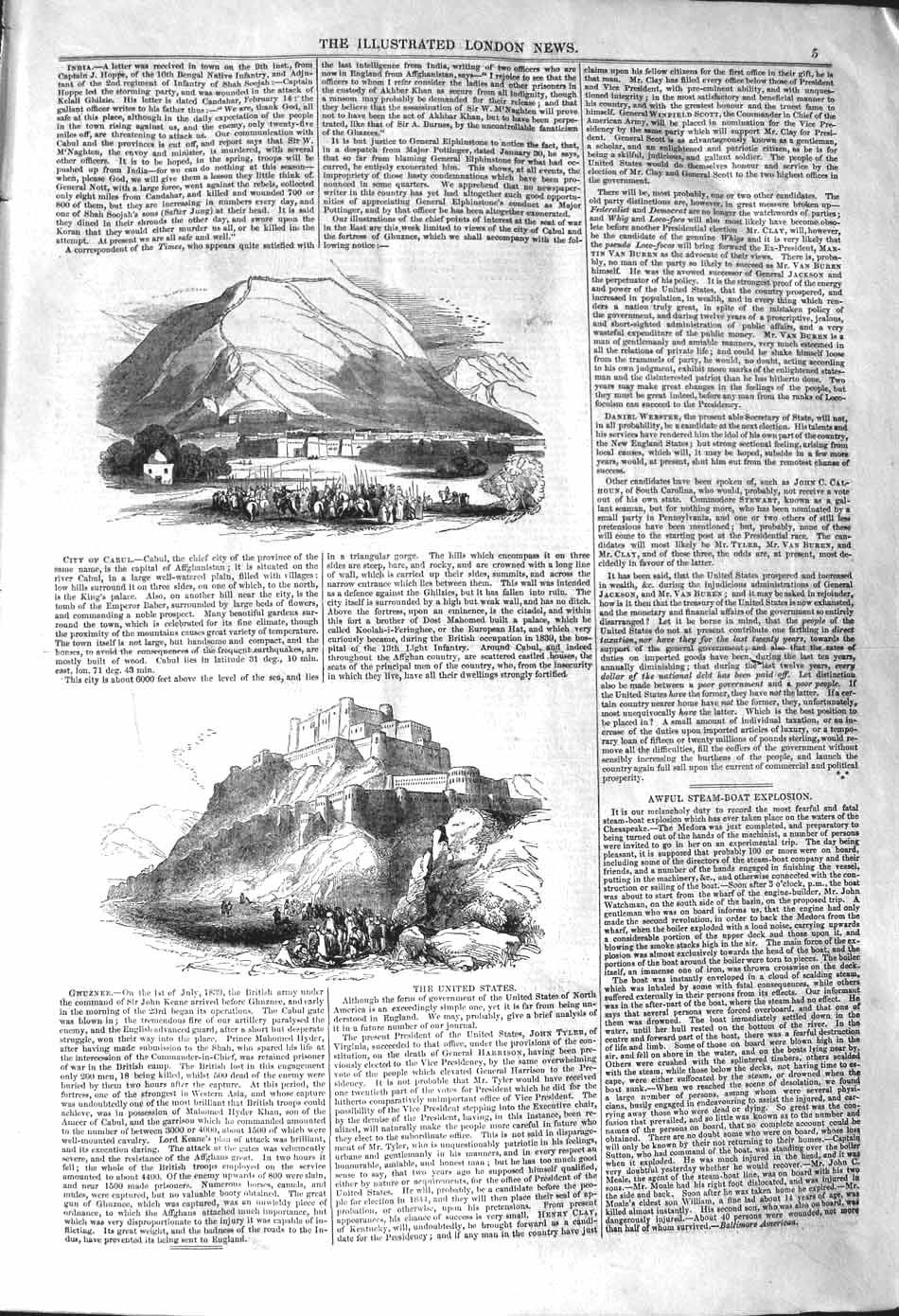 [Print 1842 View City Cabul Mountains Ghuznee War Soldiers 005P101 Old Original]