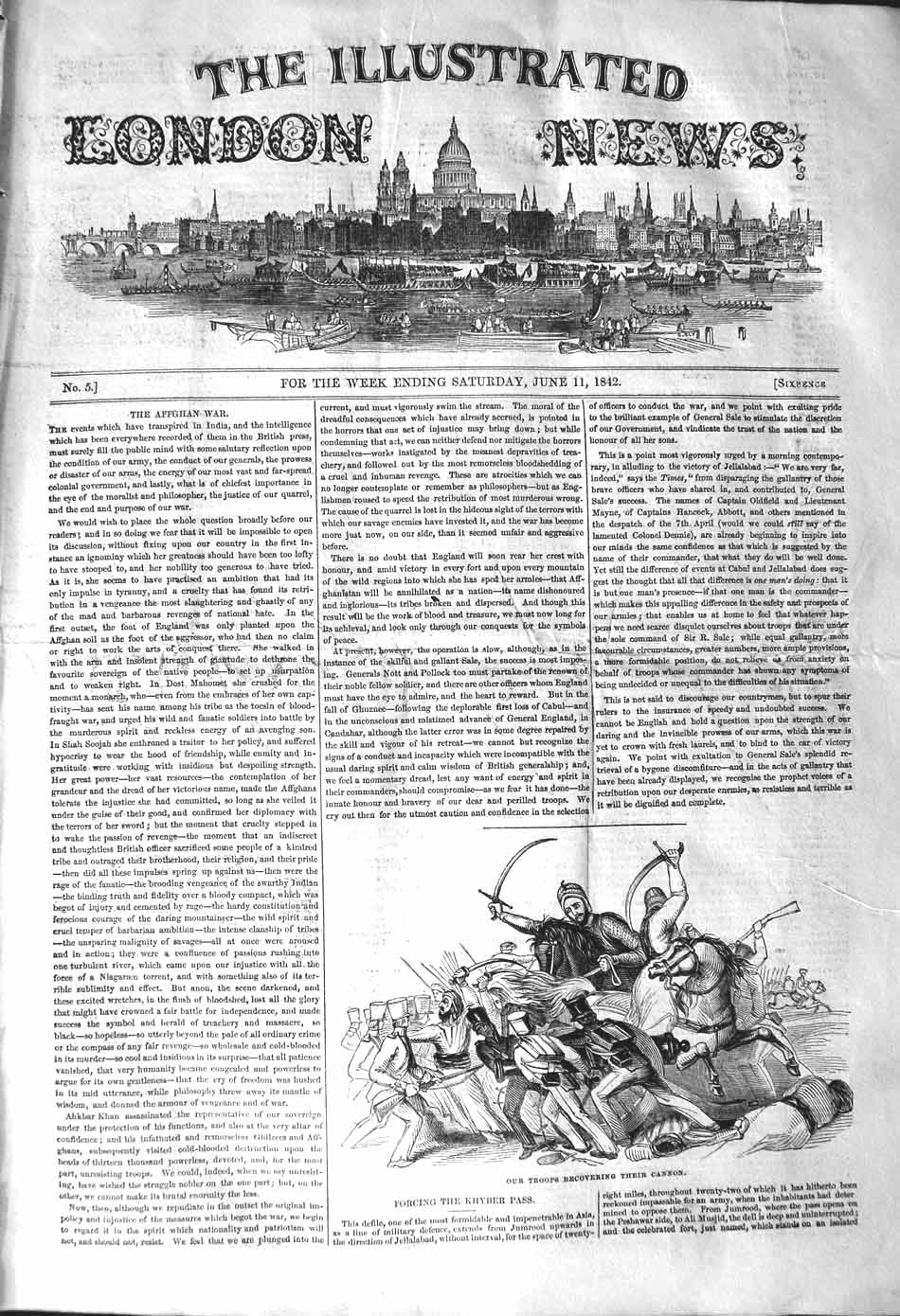 [Print 1842 British Soldiers Troops Recovering Cannon War 065P101 Old Original]