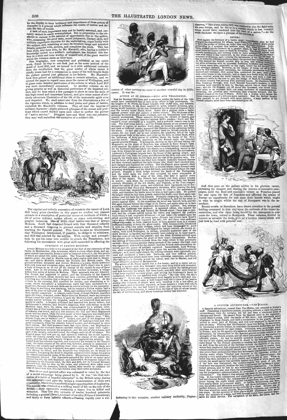[Print 1842 War Soldiers Van Halen Wellington Molinos Napier 508P101 Old Original]