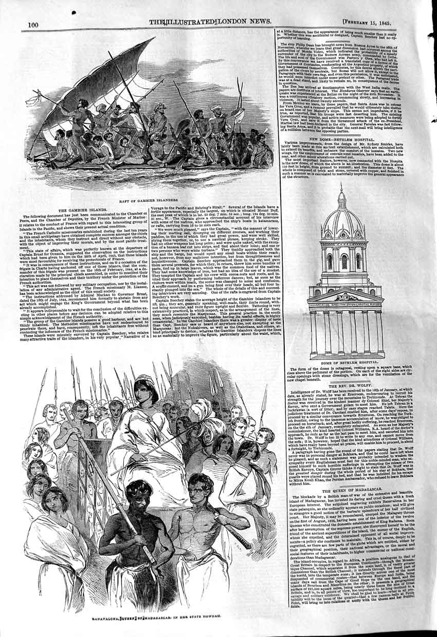 [Print 1845 Raft Gambier Dome Bethlem Hospital Madagascar 100P106 Old Original]