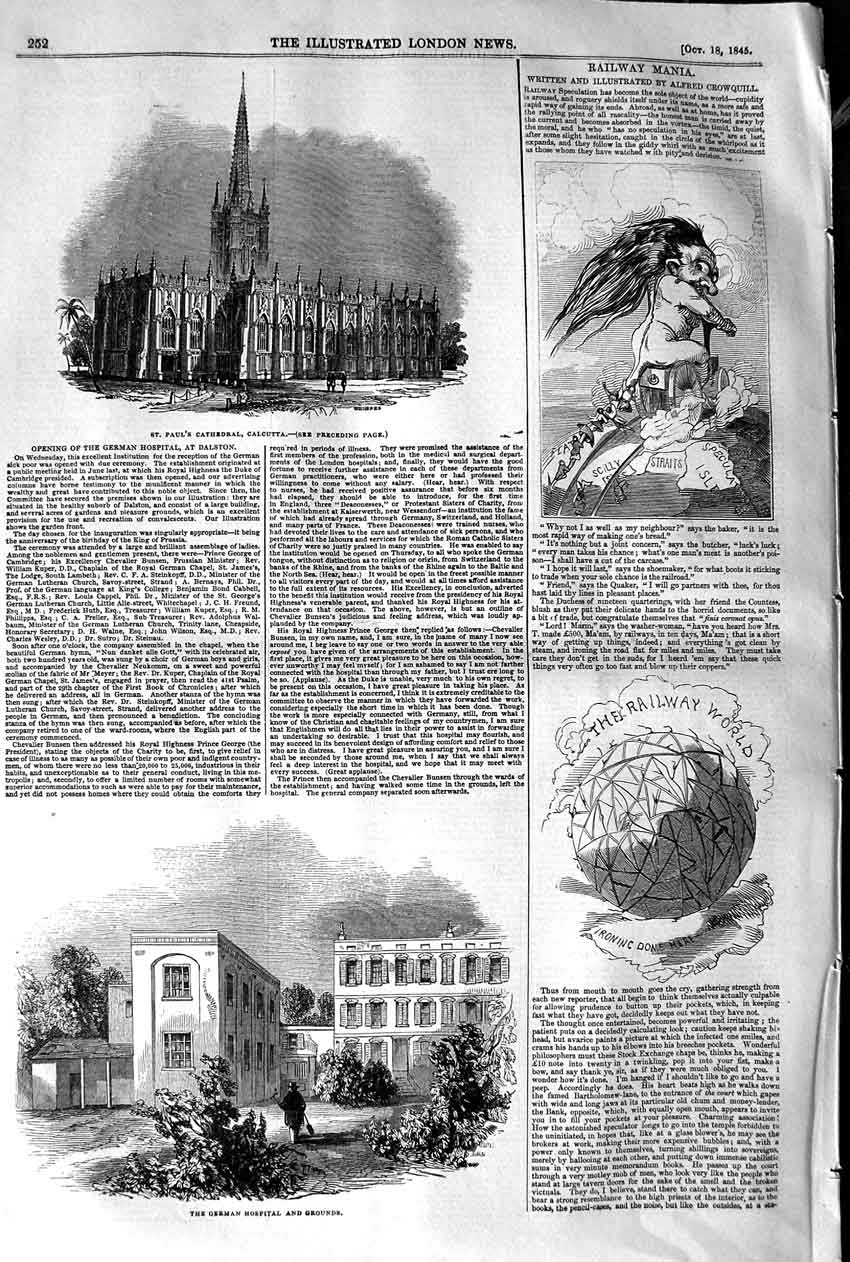 [Print 1845 German Hospital Grounds Paul'S Cathedral Calcutta 252P107 Old Original]