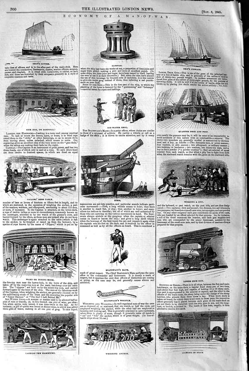 [Print 1845 Man-Of-War Ship Hospital Cutter Boatswain Whistle 300P107 Old Original]