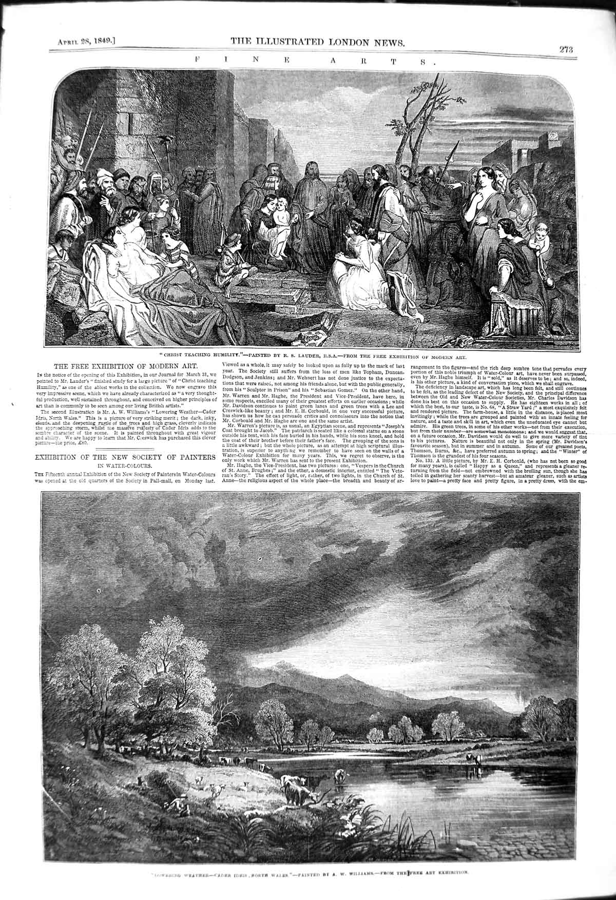 Print 1849 Scene Christ Teaching Humility Cader Idris Wales 273P114 Old Original