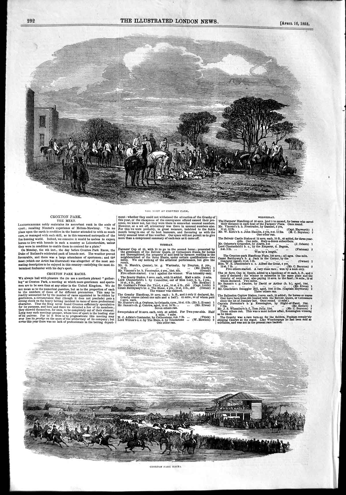 [Print 1853 Hunting Croxton Park Races Hounds Dogs Horses  Old Original]