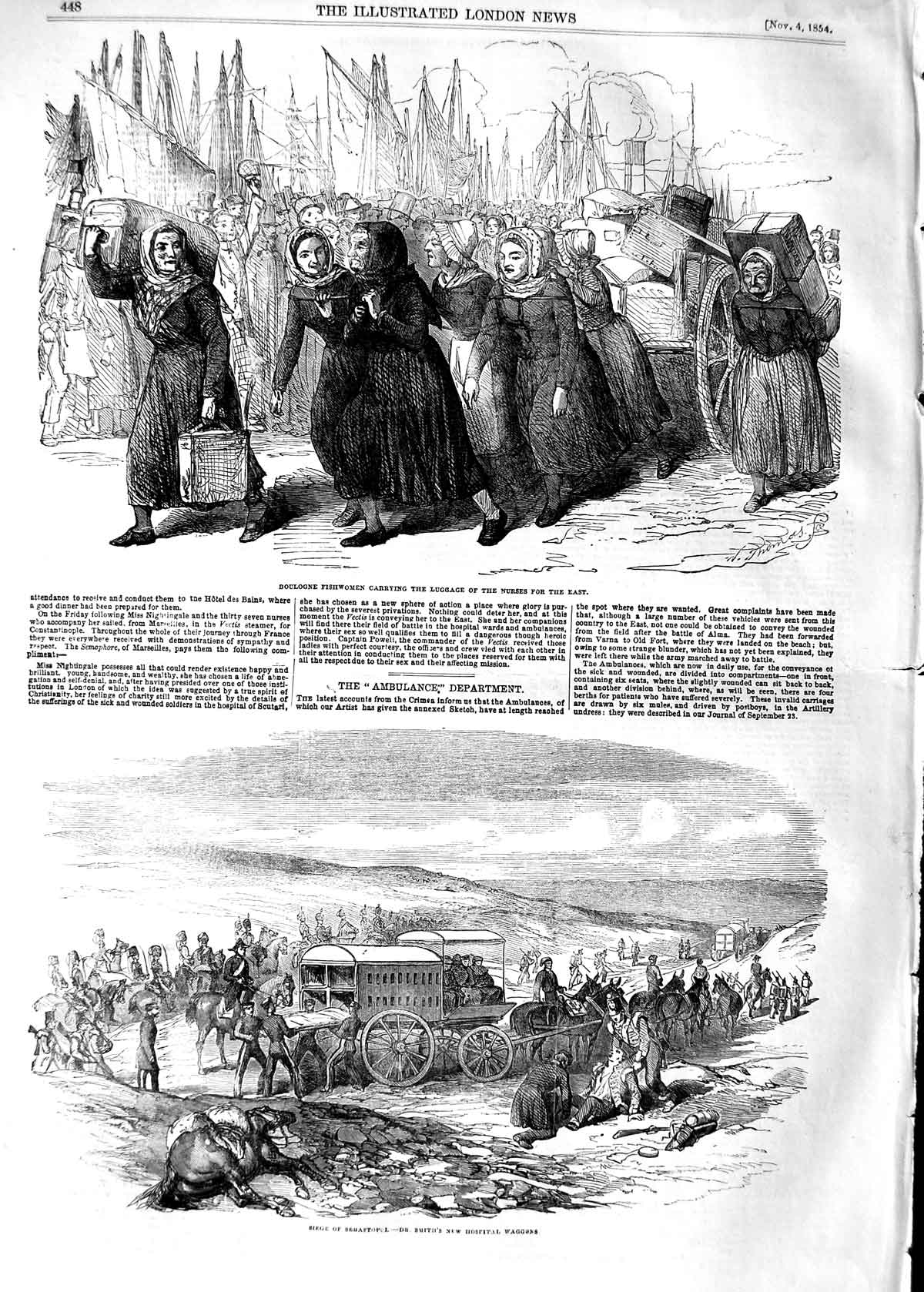 [Print 1854 Boulogne Fisherwomen Nurses Sebastopol Smith War  Old Original]