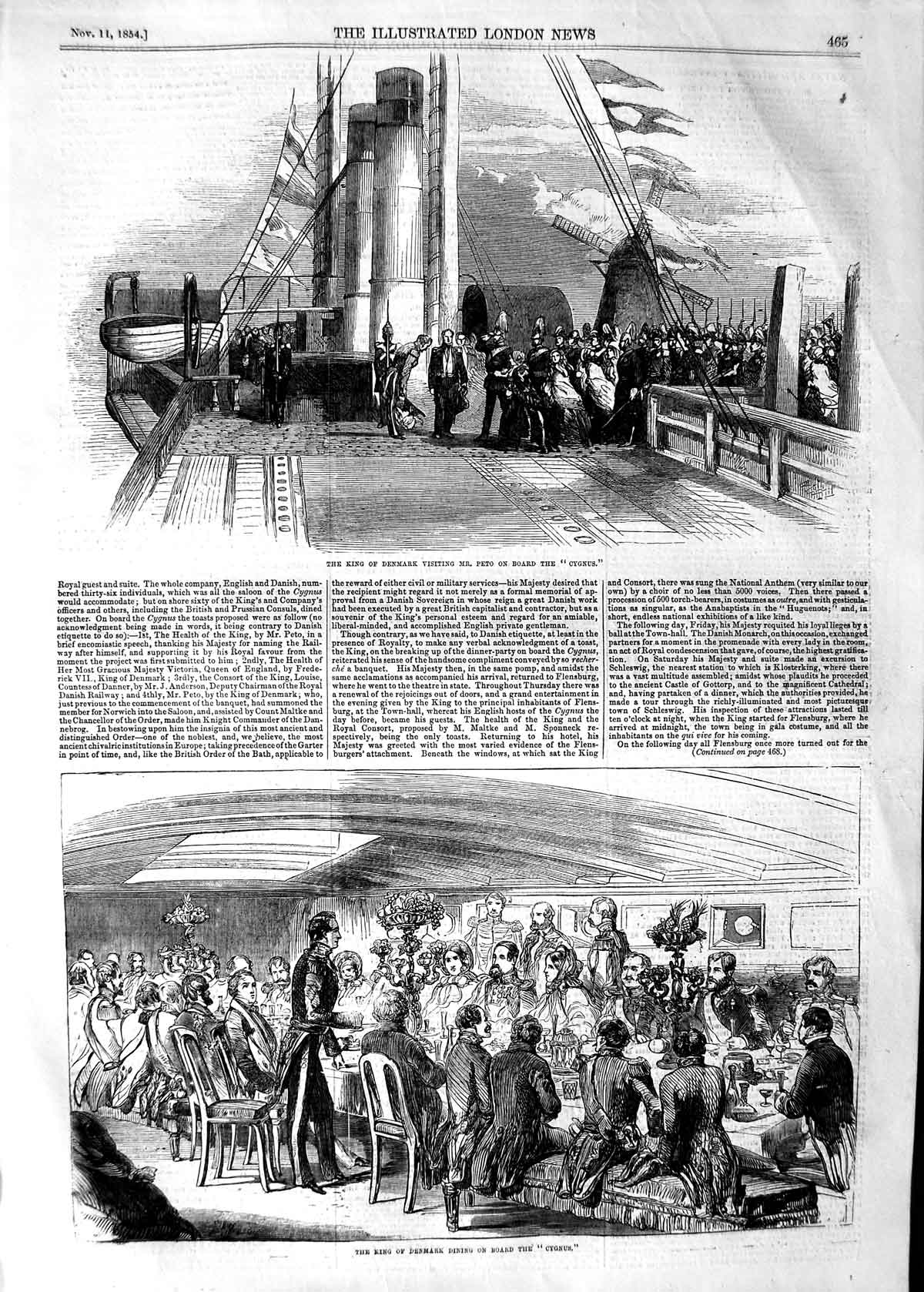 [Print 1854 King Denmark Peto Dining Cygnus War Ship Windmill 465P125 Old Original]