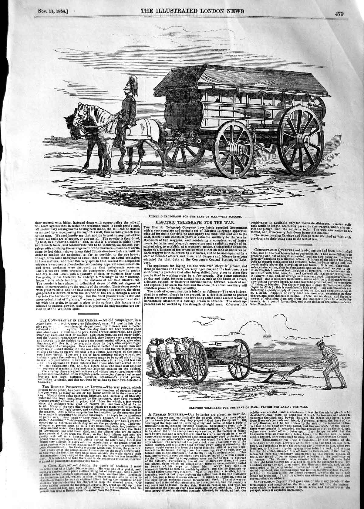 [Print 1854 Electric Telegraph War Waggon Plough Hospital Ship  Old Original]