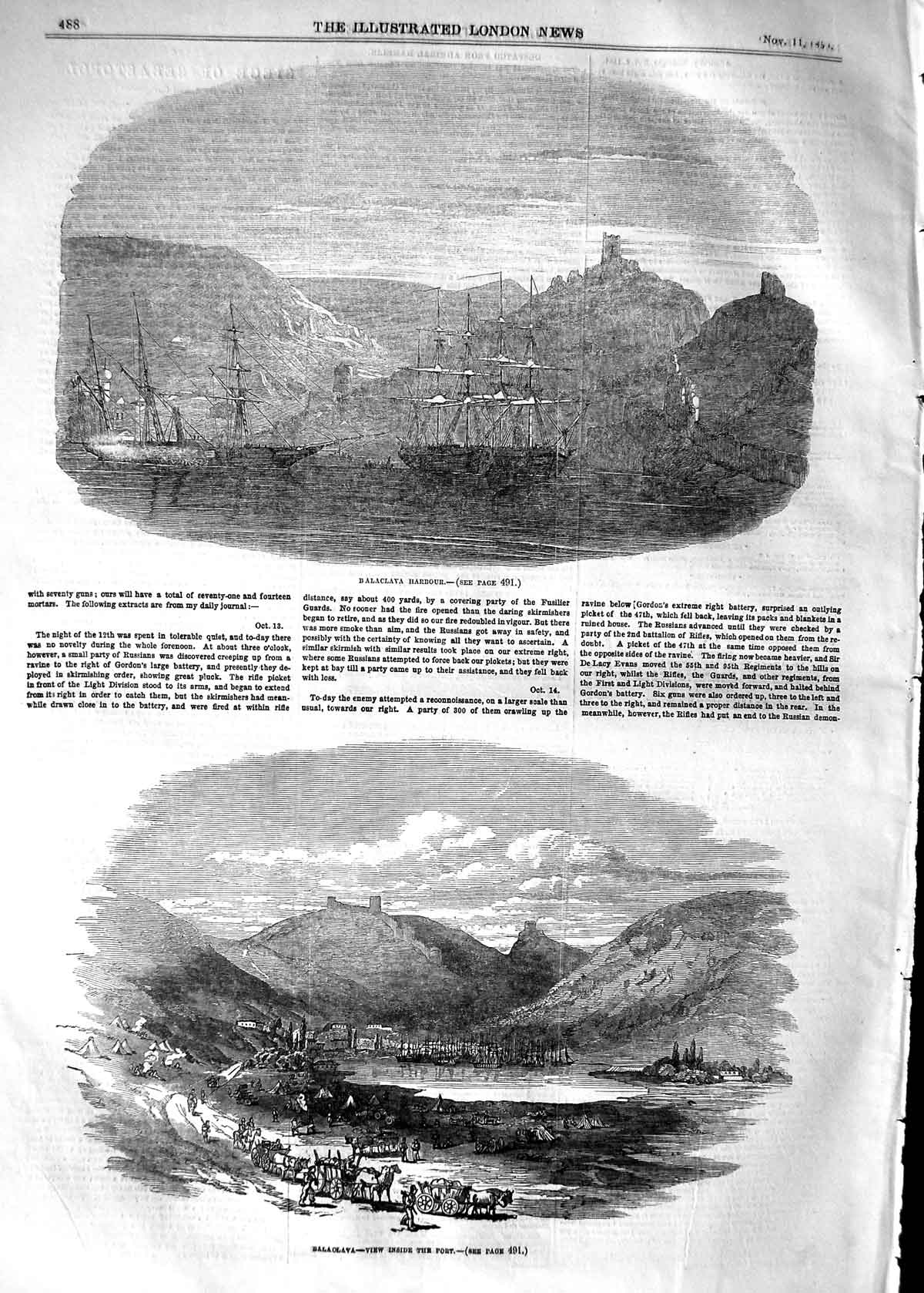 [Print 1854 Balaclava Harbour Ships War Port Mountains 488P125 Old Original]