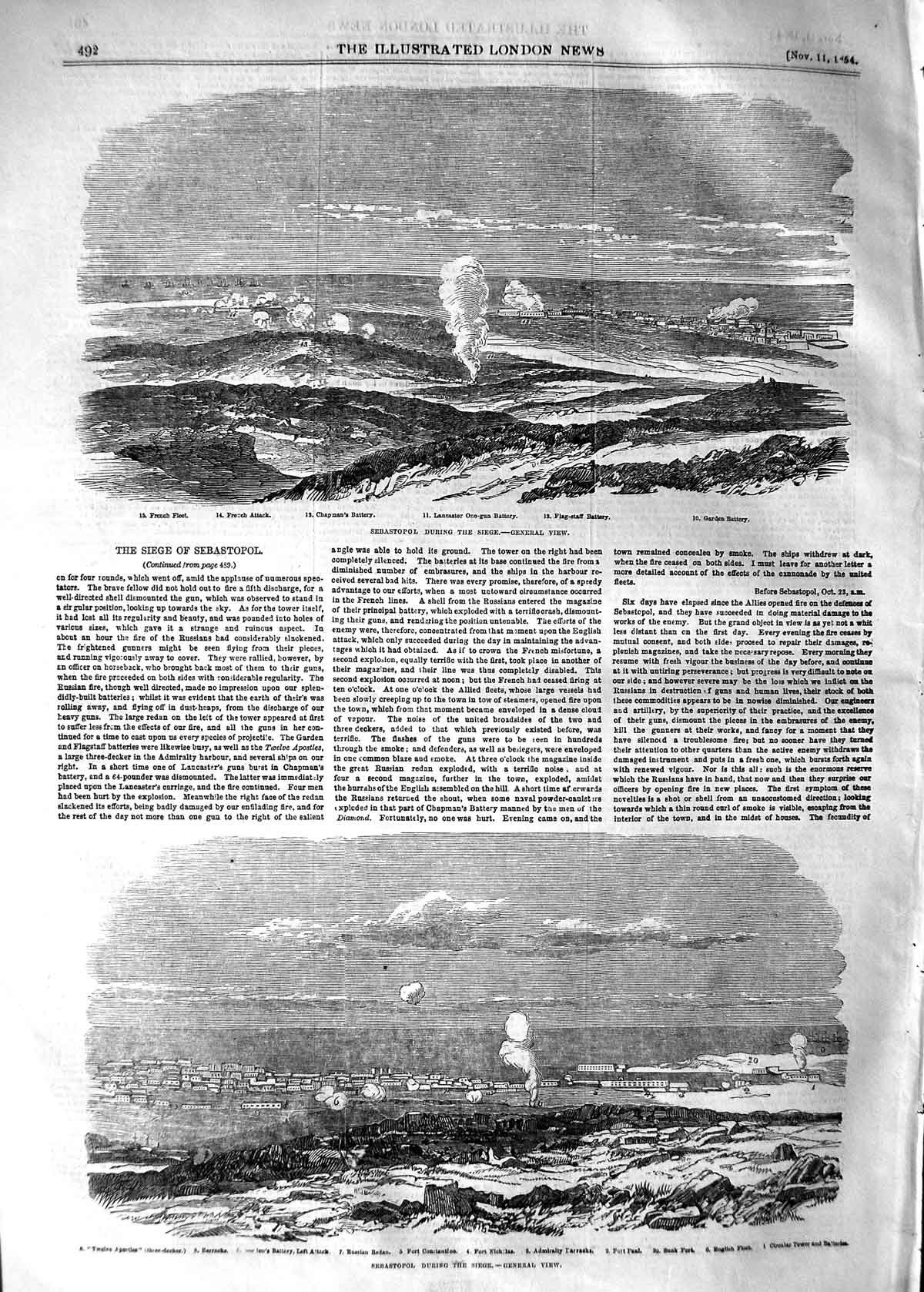 [Print 1854 Sebastopol Siege French Ships Fort Barracks War 492P125 Old Original]