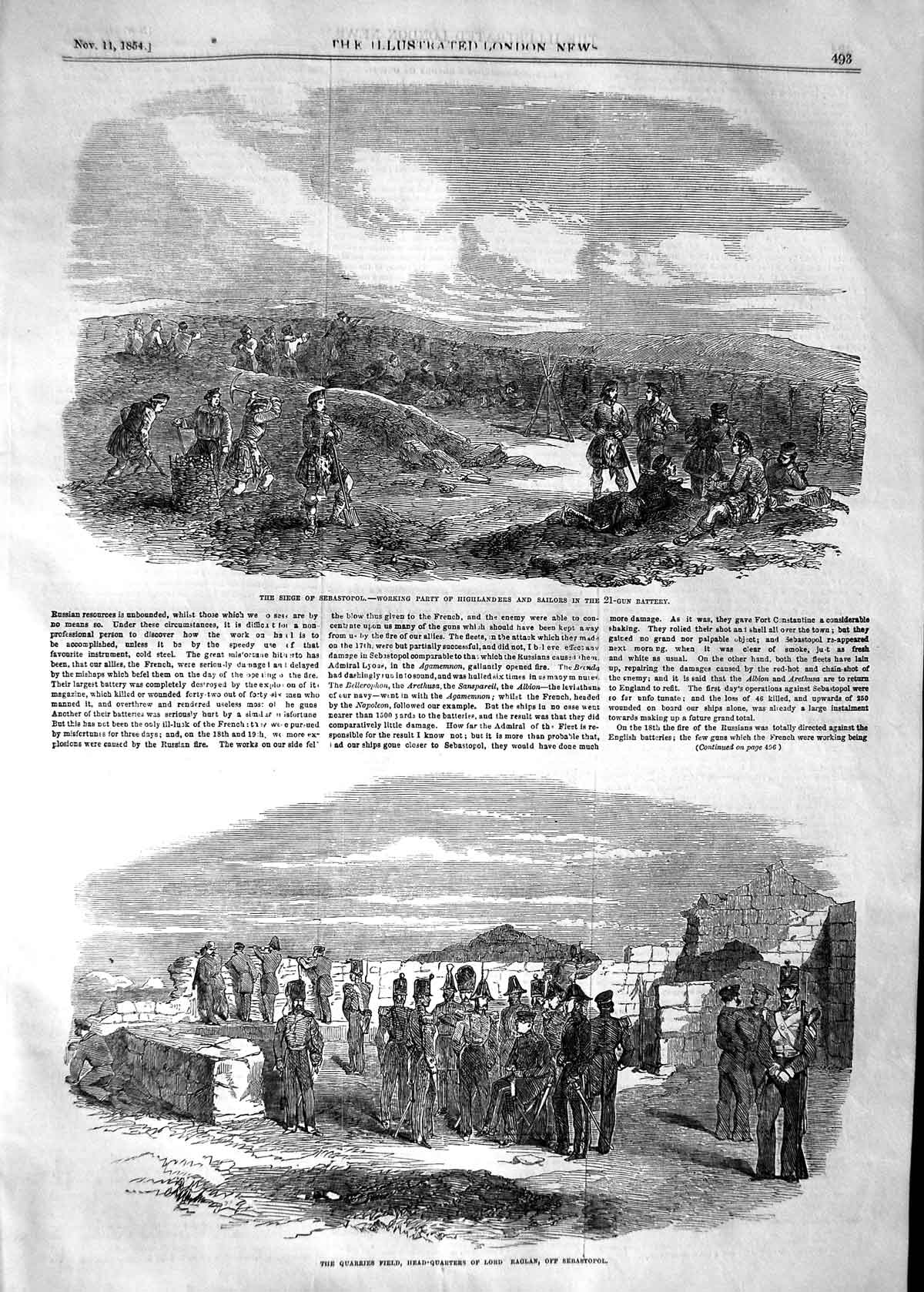 [Print 1854 Siege Sebastopol Highlanders Sailors War Raglan 493P125 Old Original]