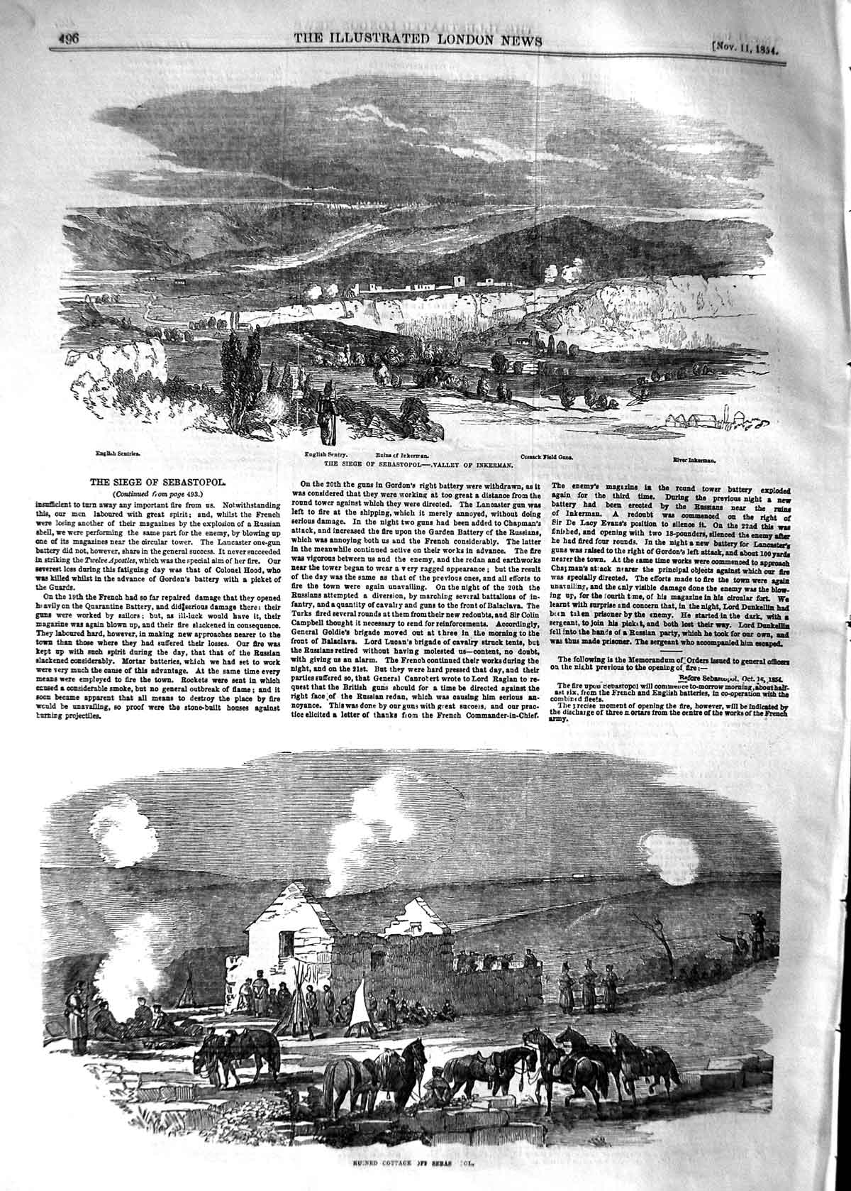 [Print 1854 Siege Sebastopol Valley Inkerman Cossack Field War 496P125 Old Original]