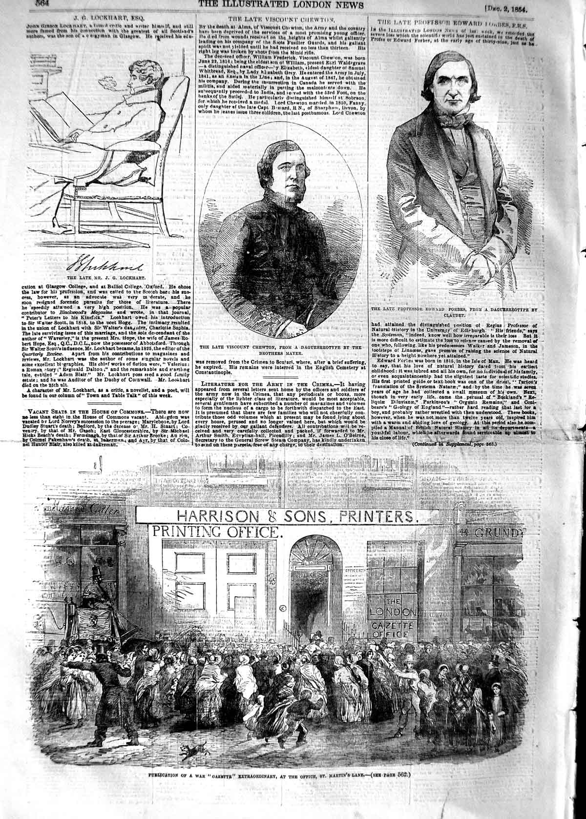[Print 1854 War Gazette Harrison Martin'S Lane Chewton Forbes 564P125 Old Original]