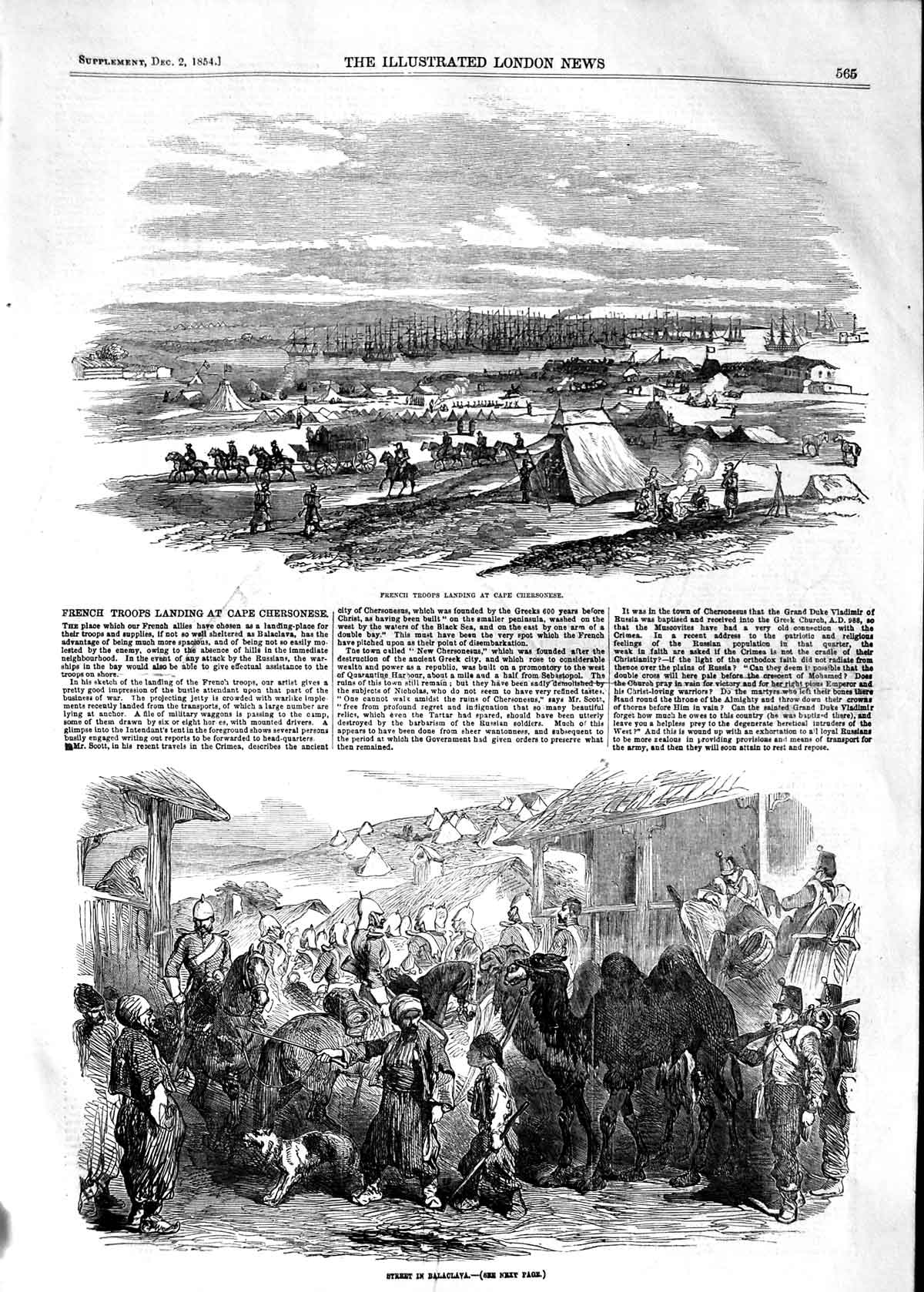 [Print 1854 French Troops Cape Chersonese Street Balaclava War 565P125 Old Original]