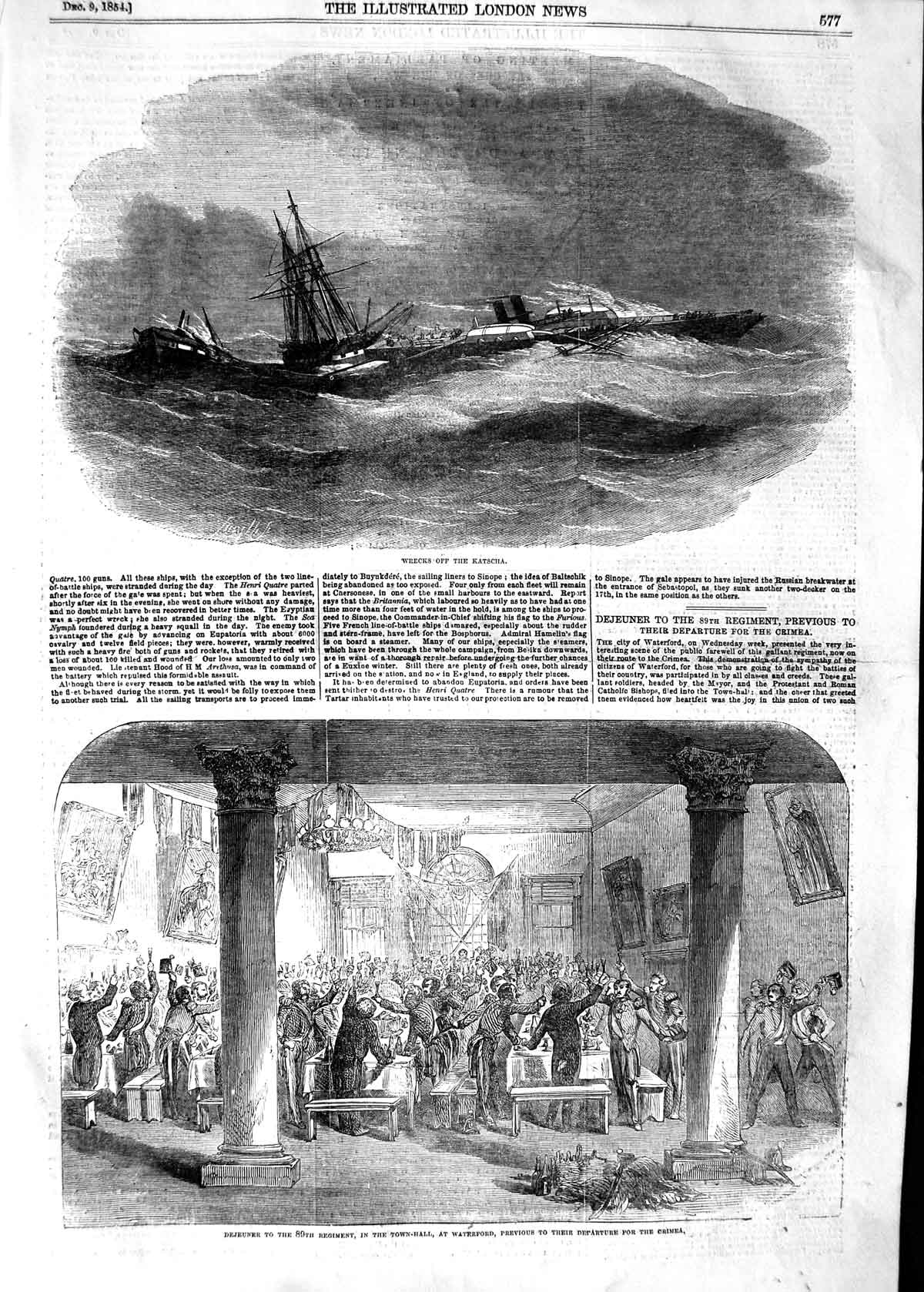 [Print 1854 Ship Wrecks Katscha Town-Hall Waterford Crimea War 577P125 Old Original]
