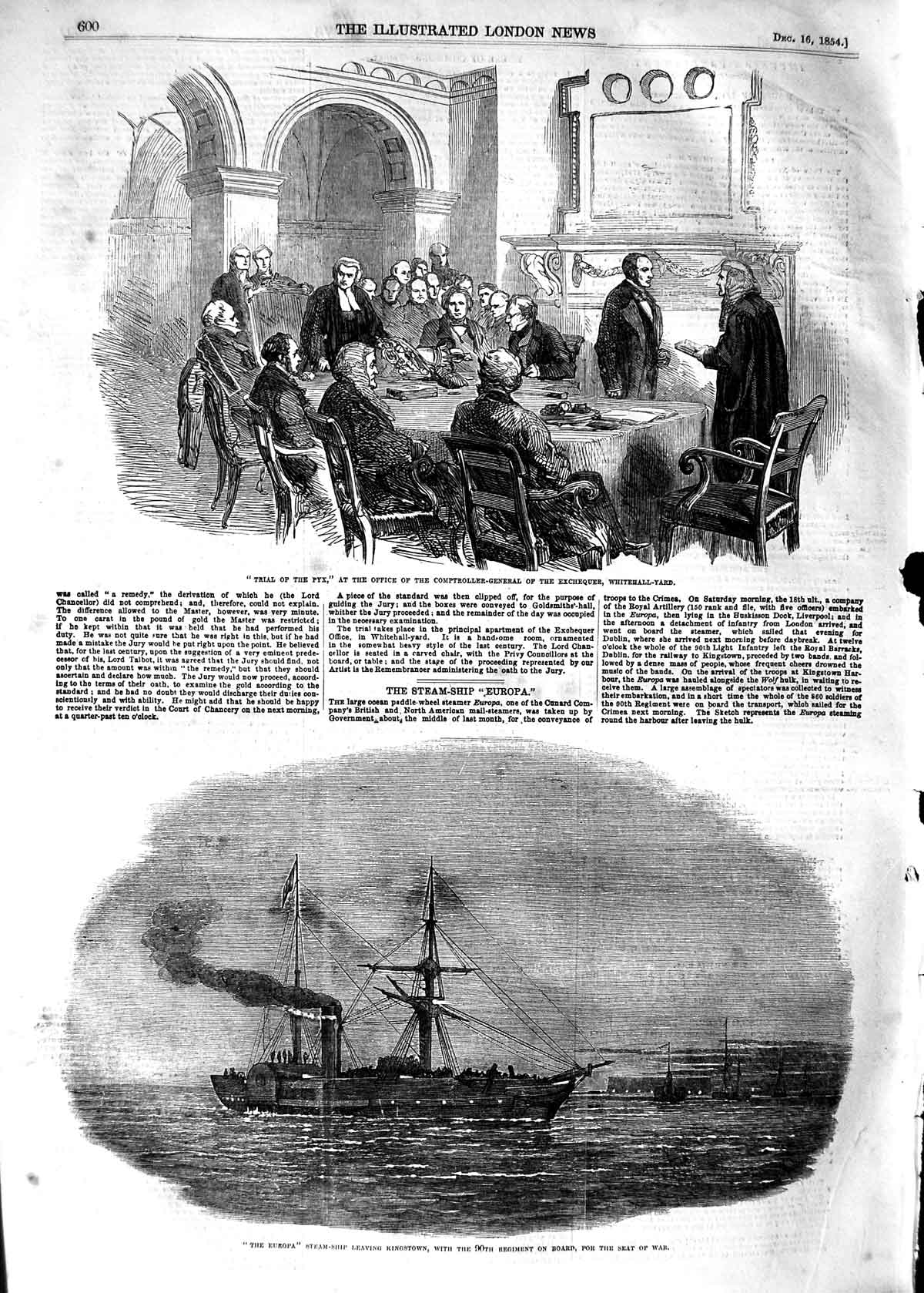 [Print 1854 Trial Pyx White-Hall Yard Europa Kingstown War 600P125 Old Original]