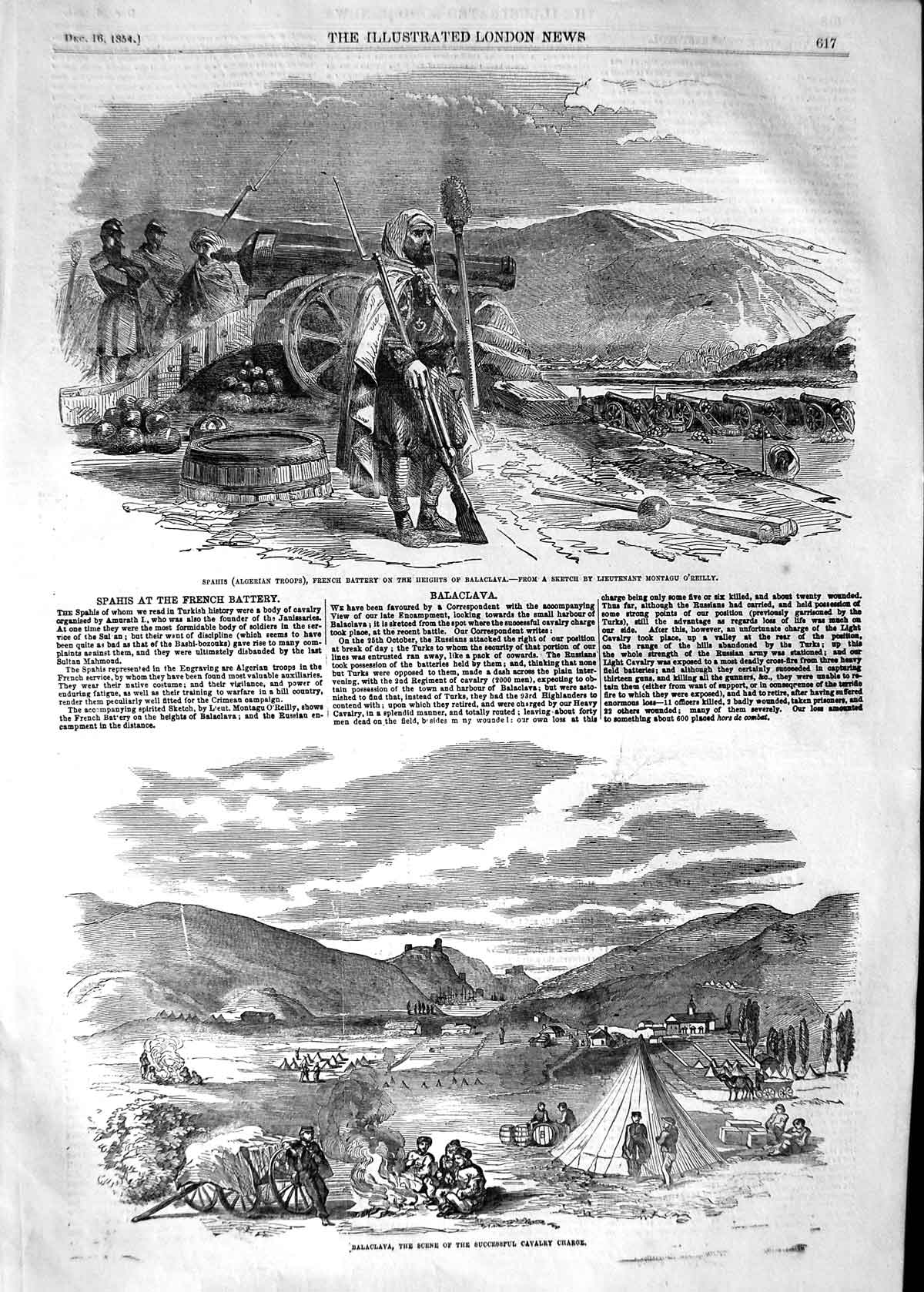 [Print 1854 Spahis French Battery Army War Balaclava O'Reilly 617P125 Old Original]