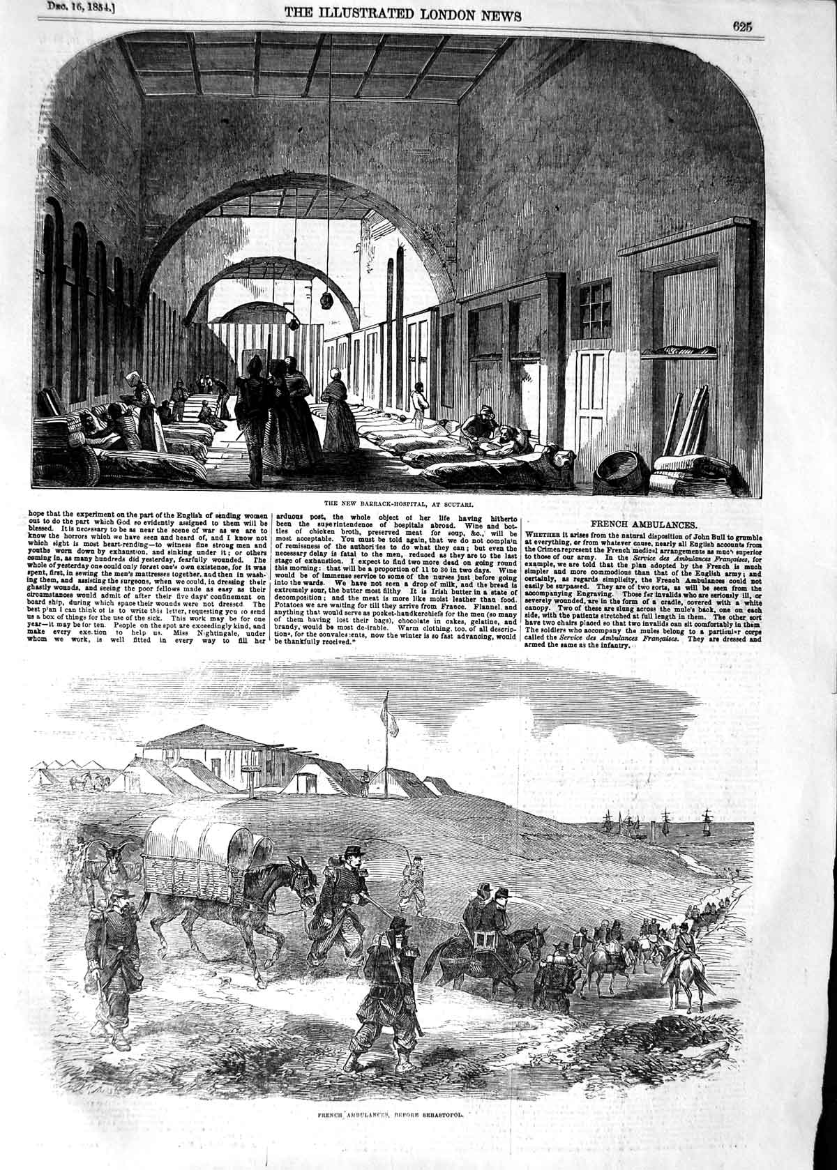 [Print 1854 Barrack Hospital Scutari War Ambulance Sebastopol Old Original]
