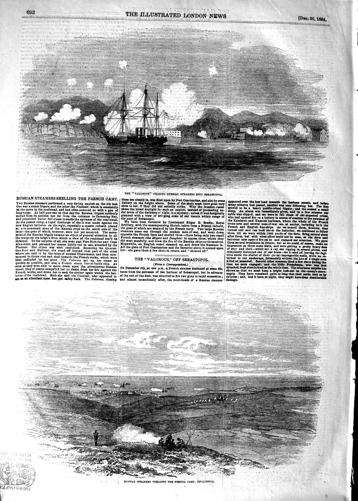 [Print 1854 Valorous War Ship Russian Steamer Sebastopol 692P125 Old Original]