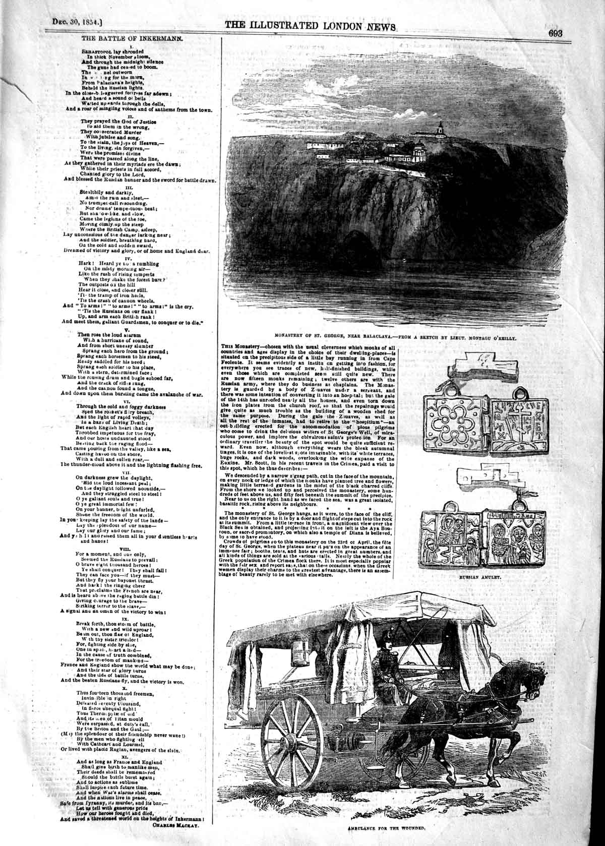 [Print 1854 Monastery George Balaclava War Ambulance Cart 693P125 Old Original]