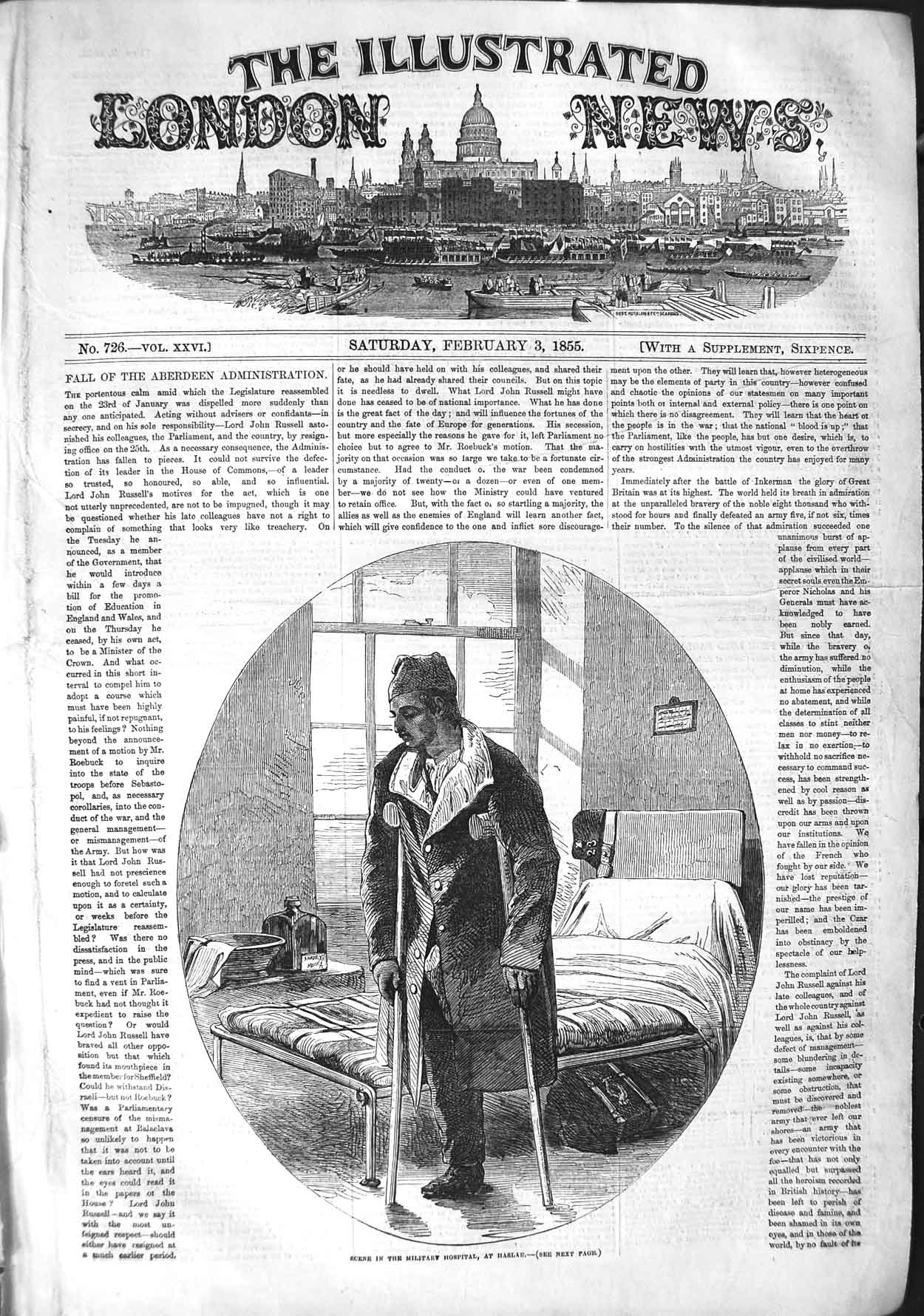 [Print 1855 Scene Military Hospital Haslar Injured Soldier War 097P126 Old Original]