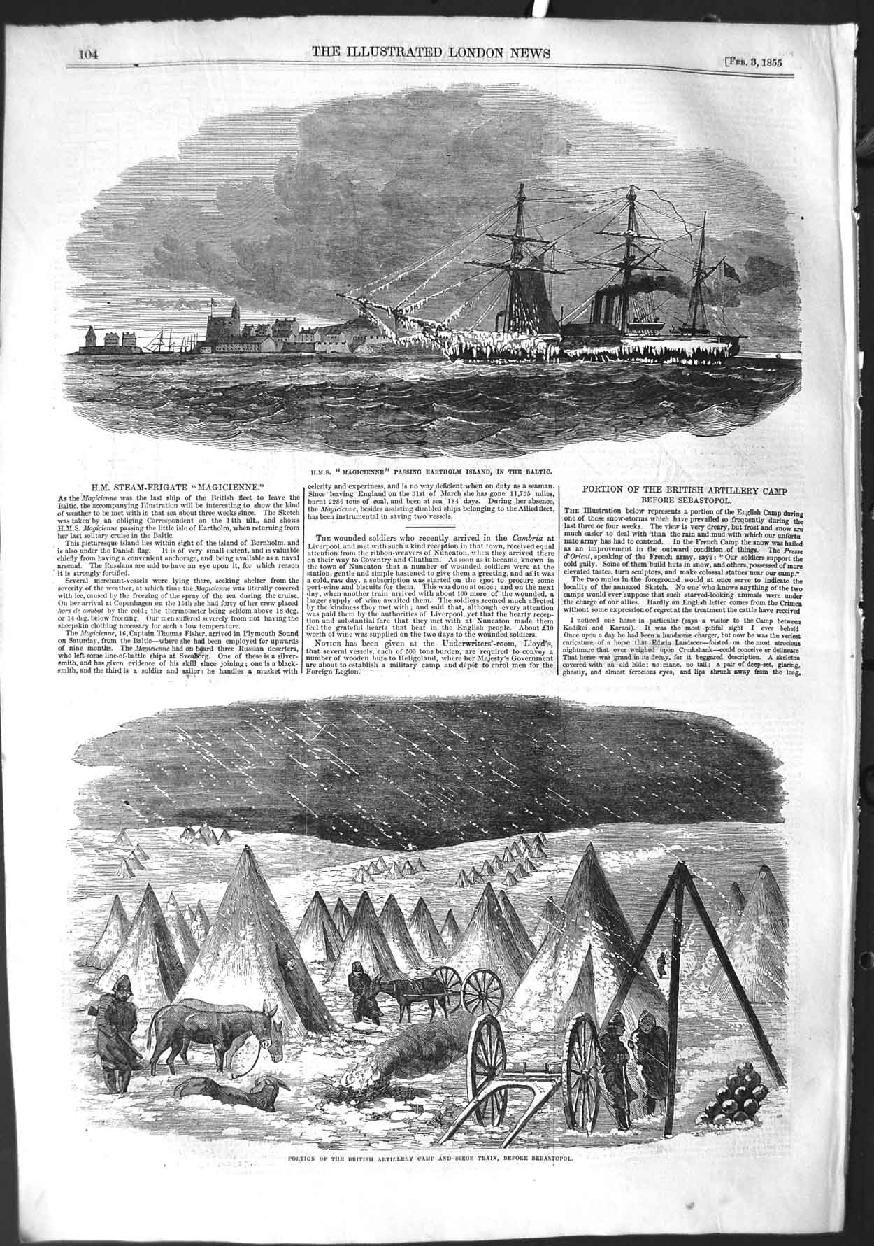 [Print 1855 Ship Magicienne Baltic British Camp Sebastopol War 104P126 Old Original]