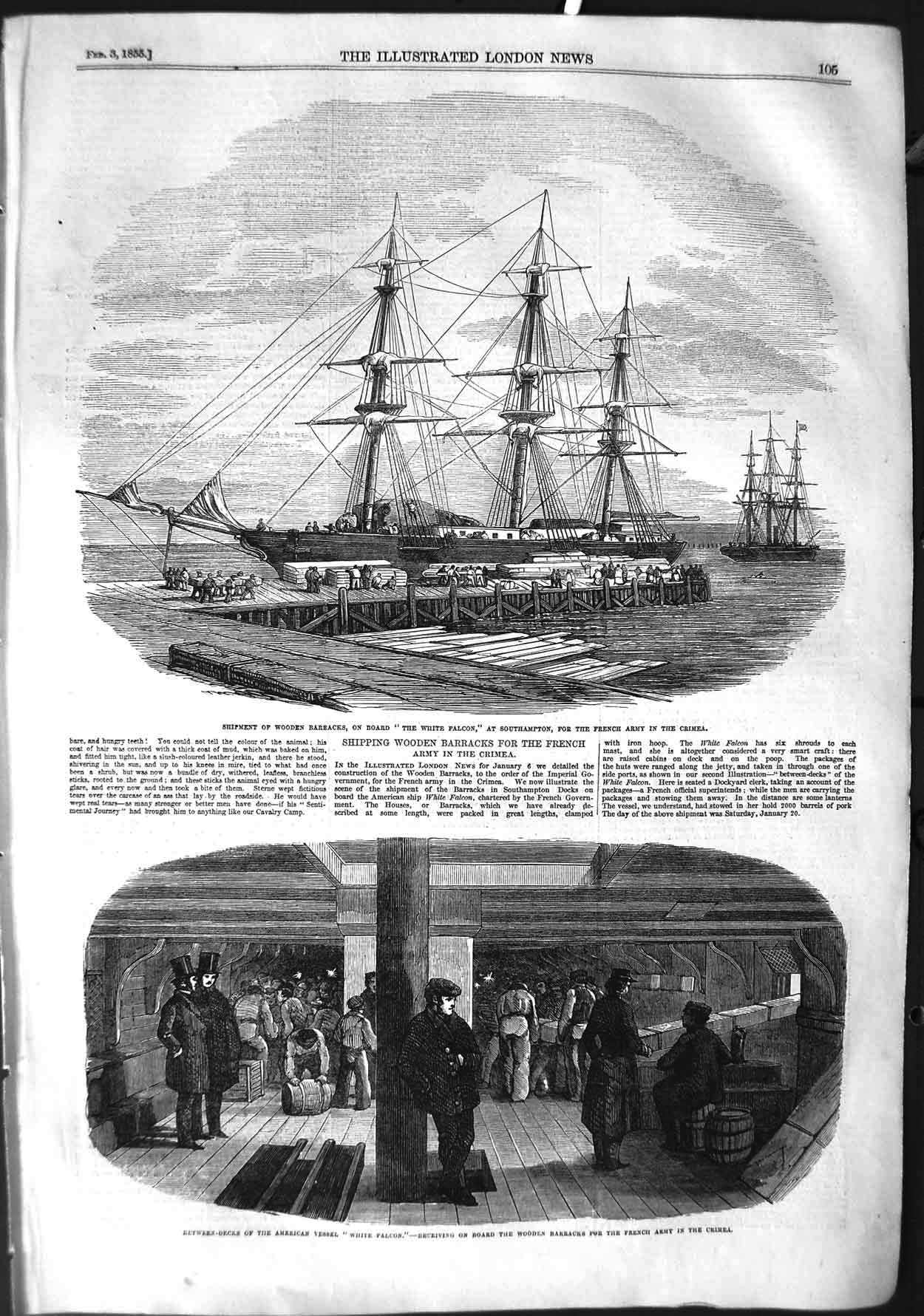 [Print 1855 Ship Wooden Barracks White Falcon Crimea War 105P126 Old Original]