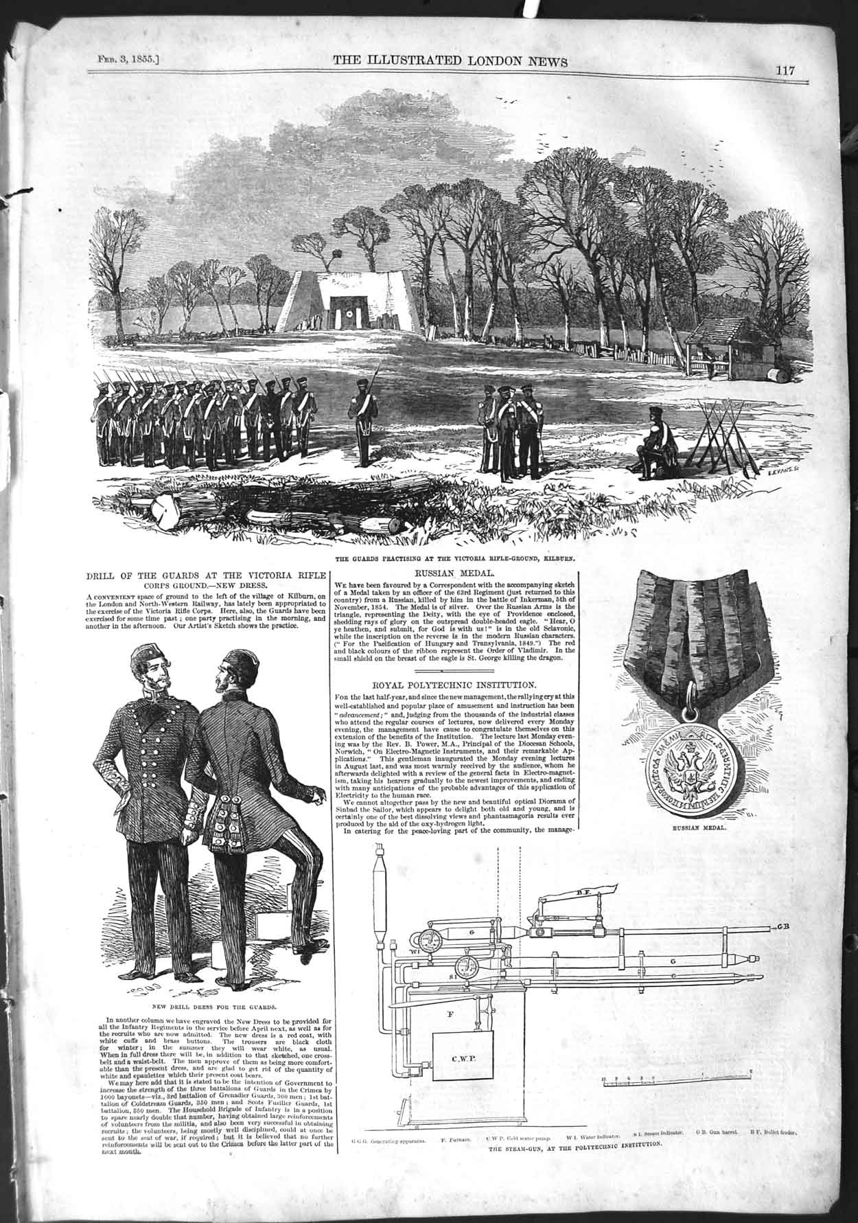 [Print 1855 Soldiers Victoria Rifle Ground Kilburn Guards War 117P126 Old Original]