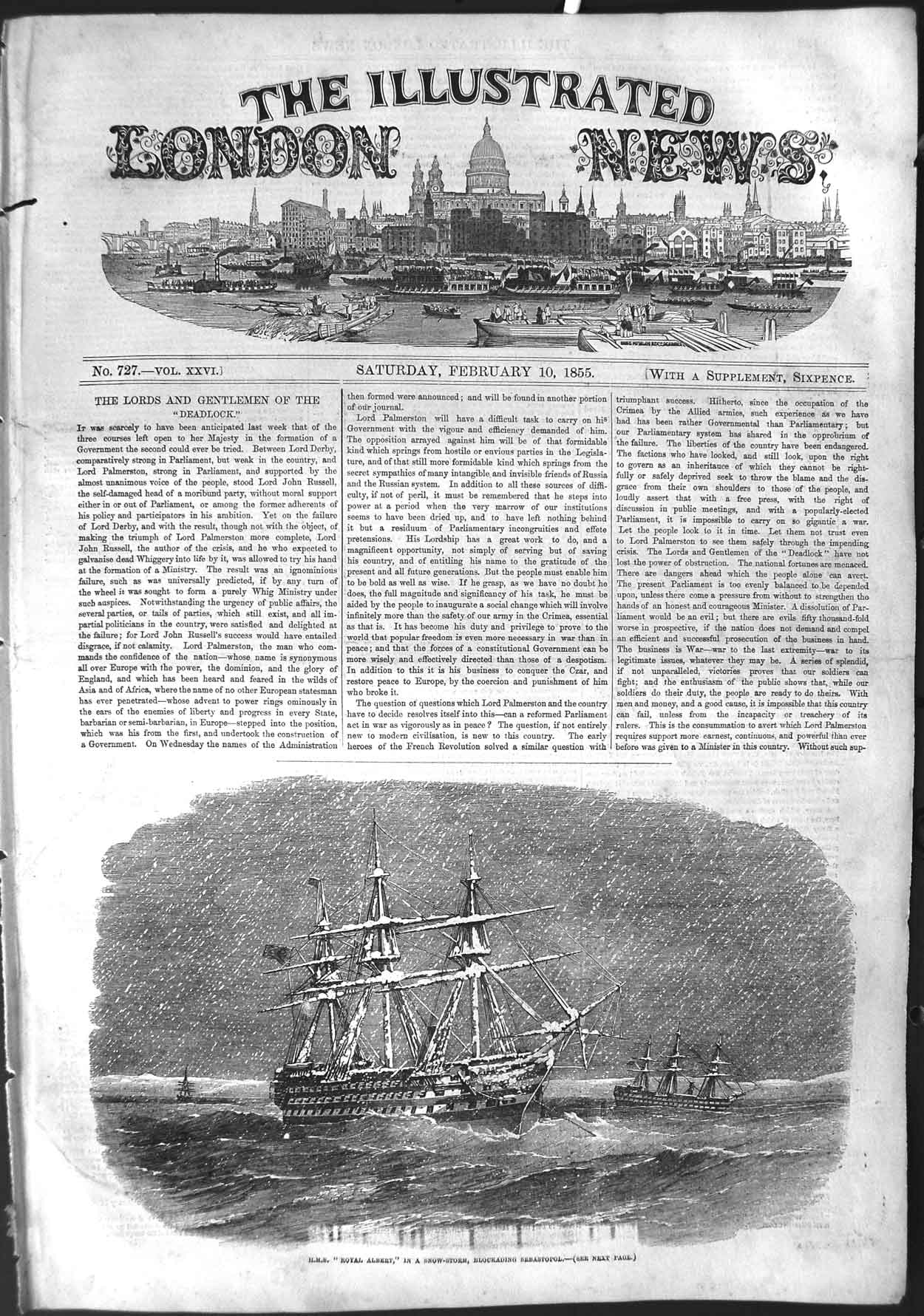 [Print 1855 War Ship H.M.S. Royal Albert Sebastopol Snowstorm  Old Original]