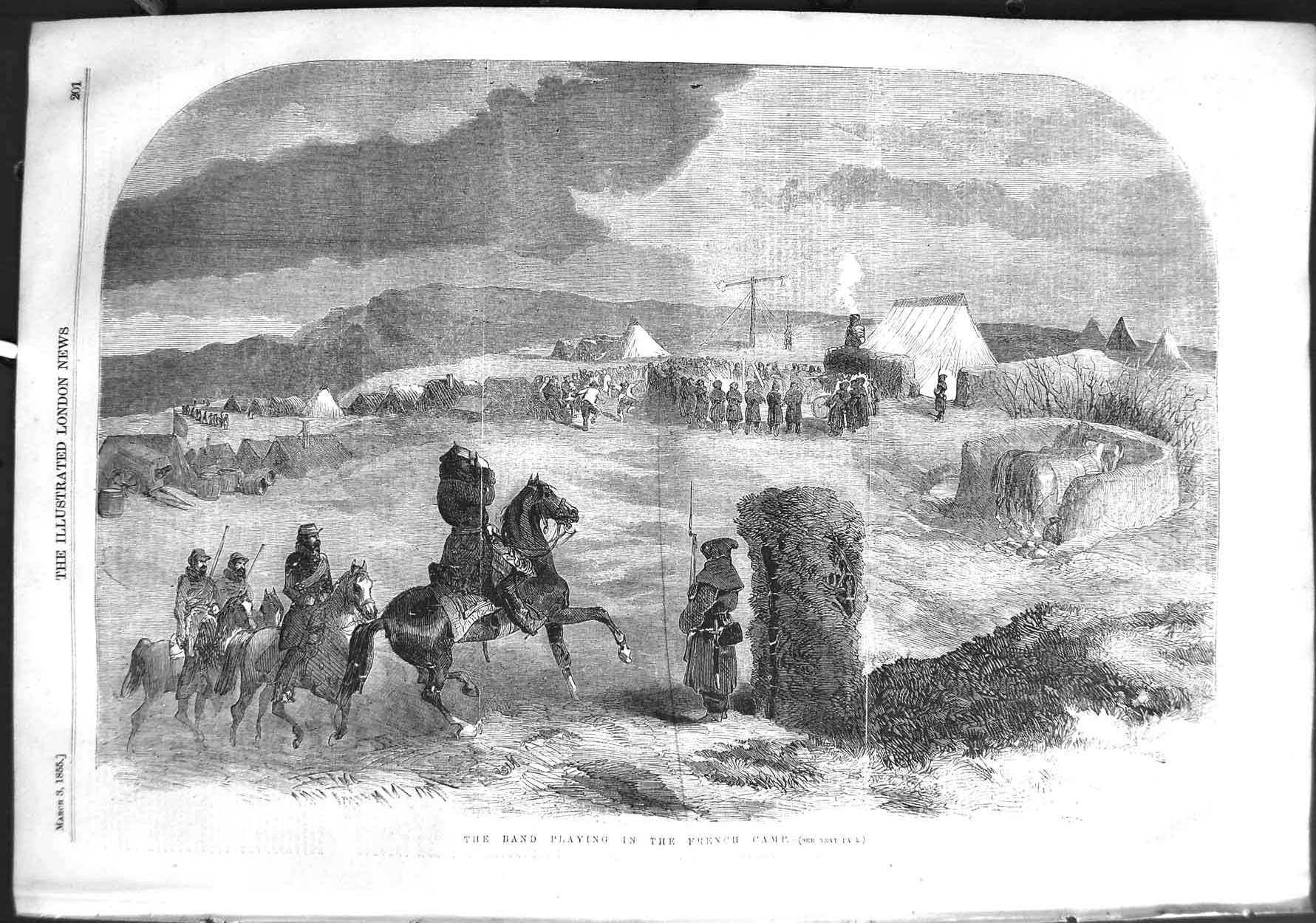 [Print 1855 Soldiers Music Band Playing French Camp War Horses 201P126 Old Original]