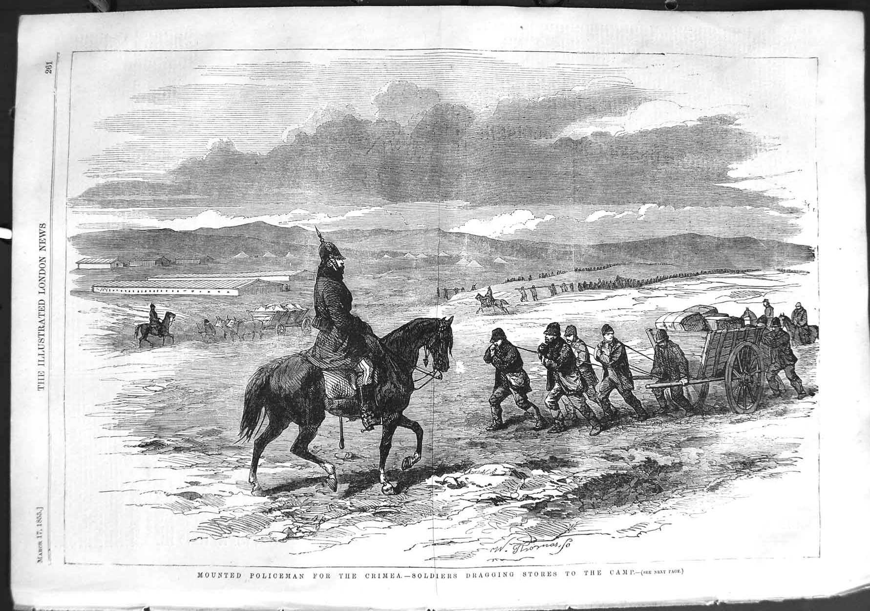 [Print 1855 Mounted Policemen Crimea War Soldiers Camp Stores 261P126 Old Original]