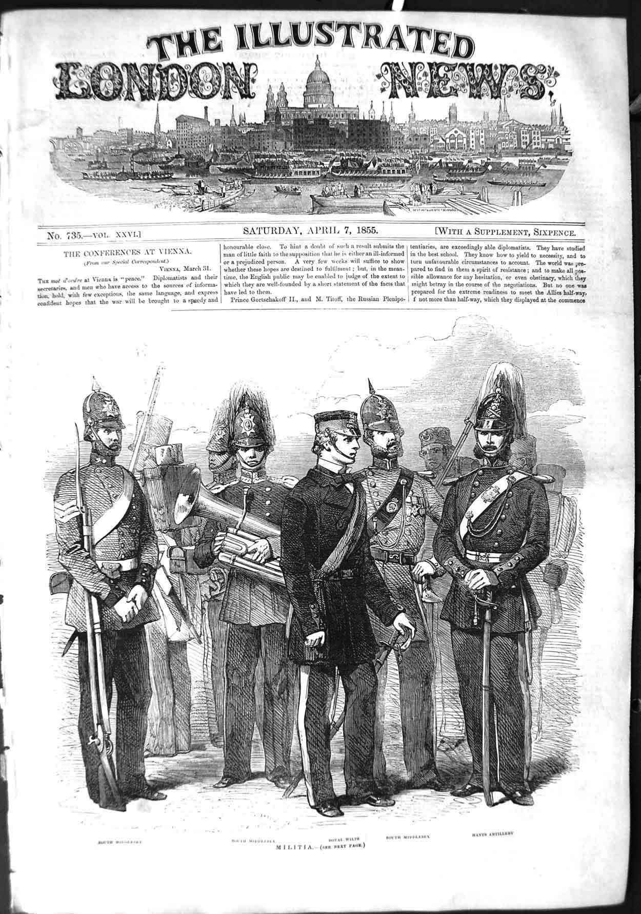 [Print 1855 Militia War South Middlesex Royal Wilts Artillery 313P126 Old Original]