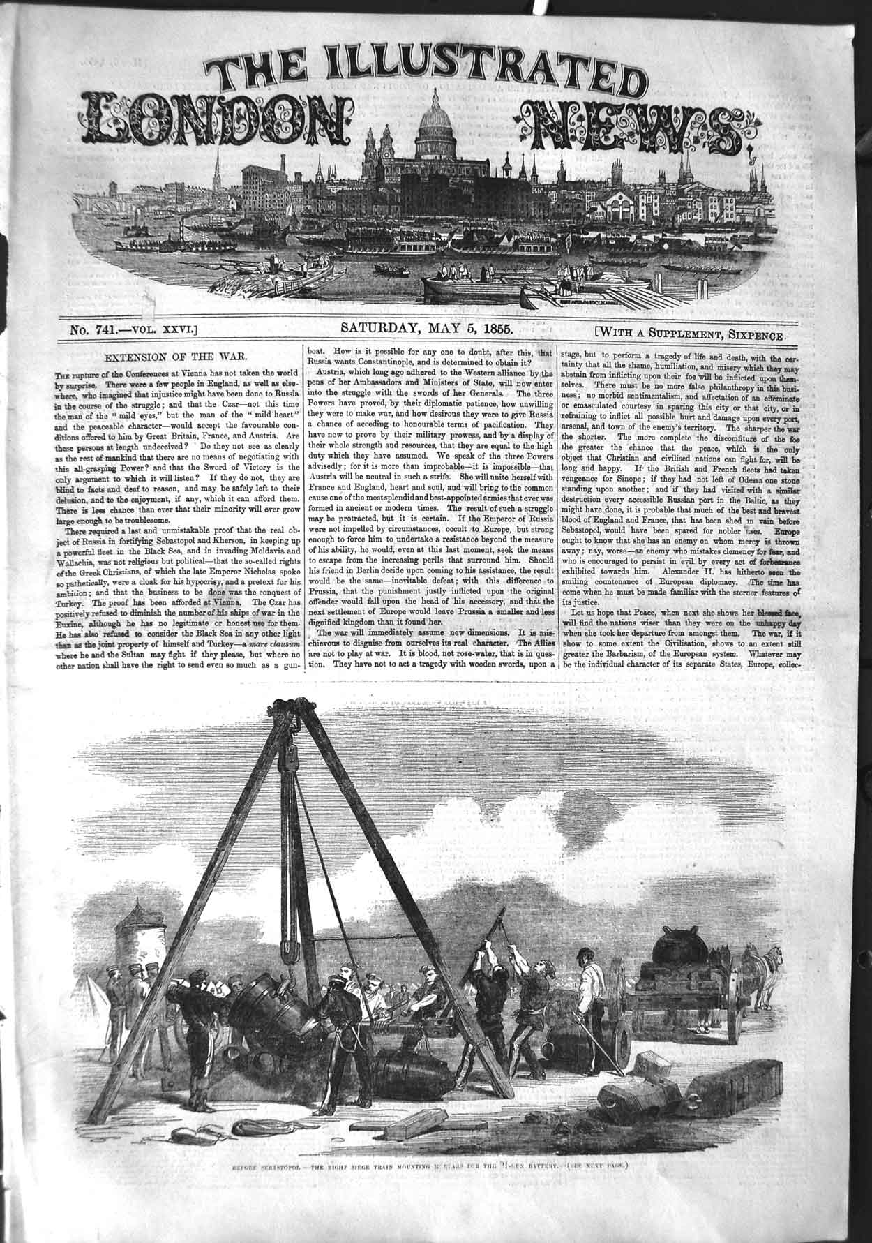 [Print 1855 Sebastopol War Siege Train Mountain Mortars Gun 425P126 Old Original]